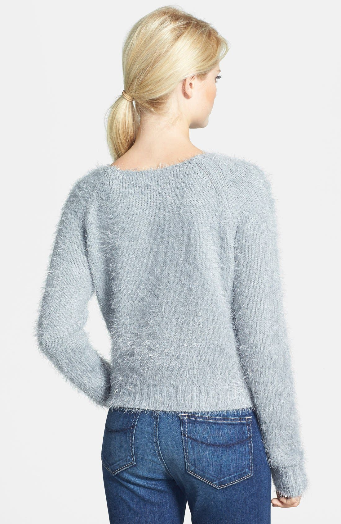 Alternate Image 2  - Gibson Eyelash Yarn Crop Sweater
