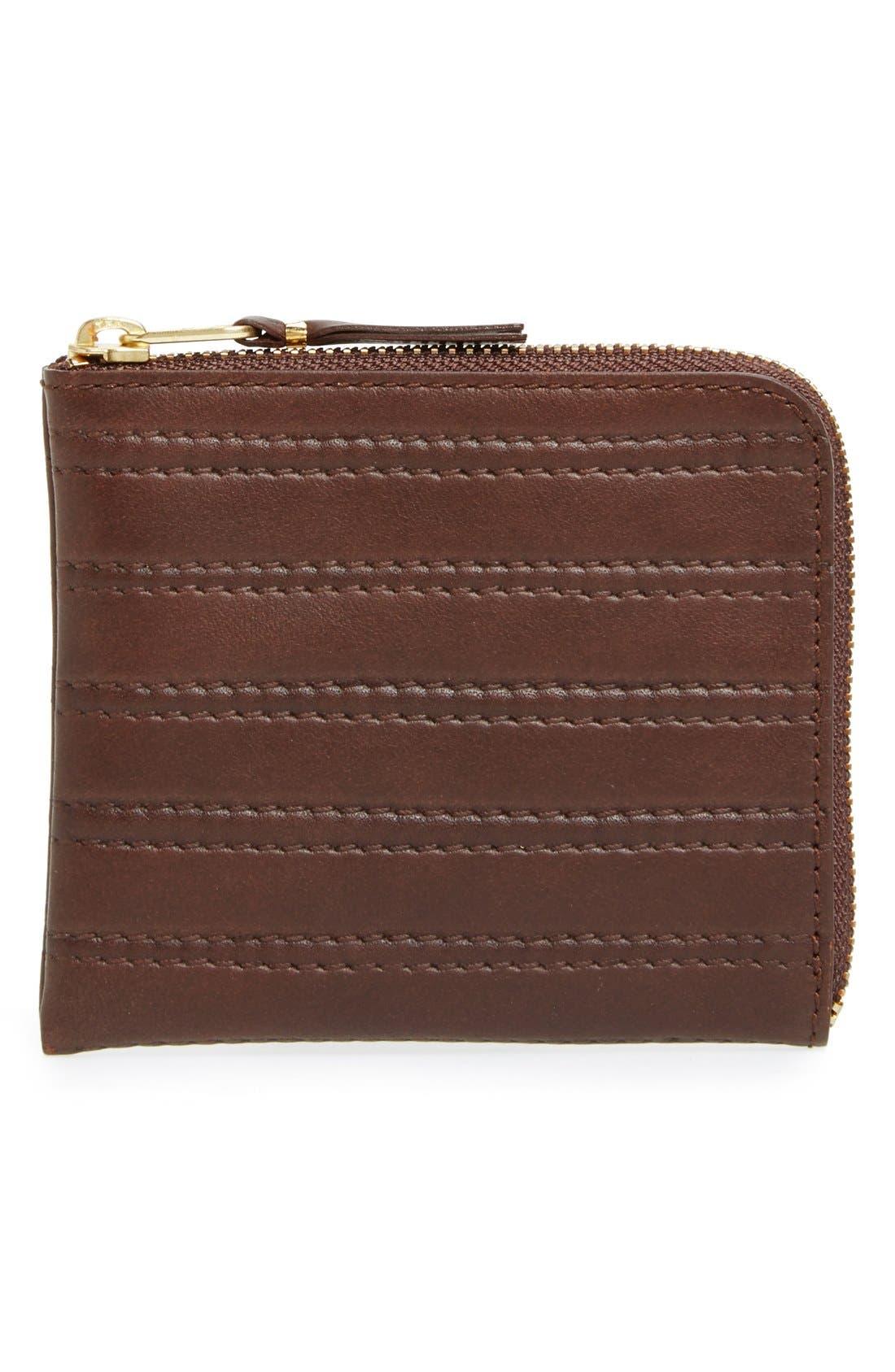 COMME DES GARÇONS 'Embossed Stitch' Leather Half Zip