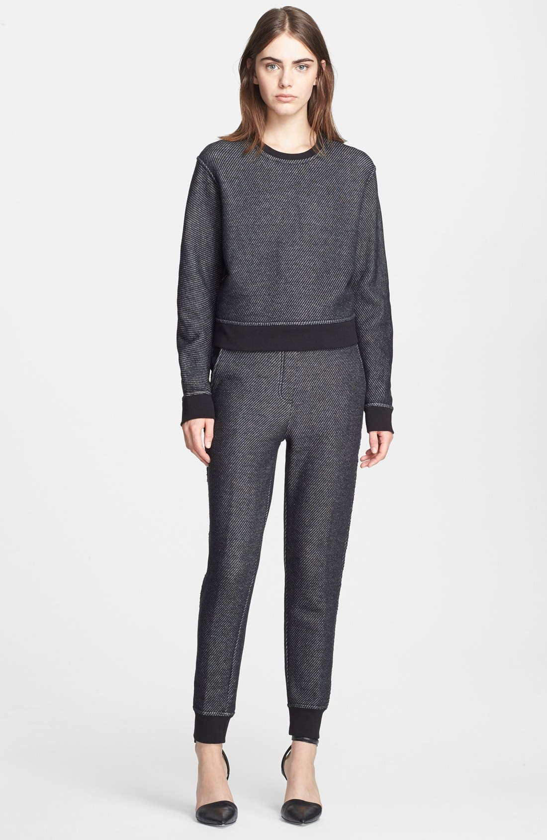 Alternate Image 1 Selected - T by Alexander Wang Twill & French Terry Crop Sweatshirt