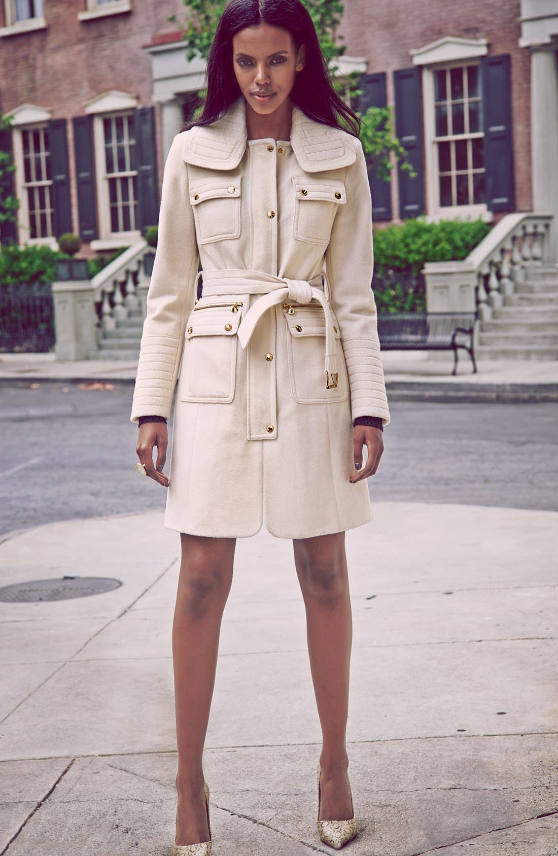 Alternate Image 2  - Laundry by Shelli Segal Belted Wool Blend Trench Coat (Regular & Petite)