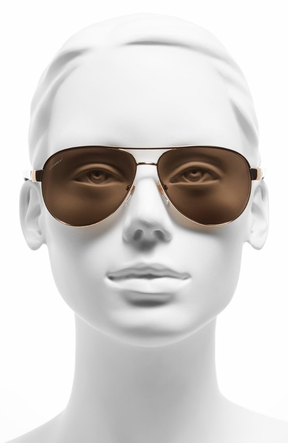 Alternate Image 2  - Gucci 58mm Polarized Aviator Sunglasses