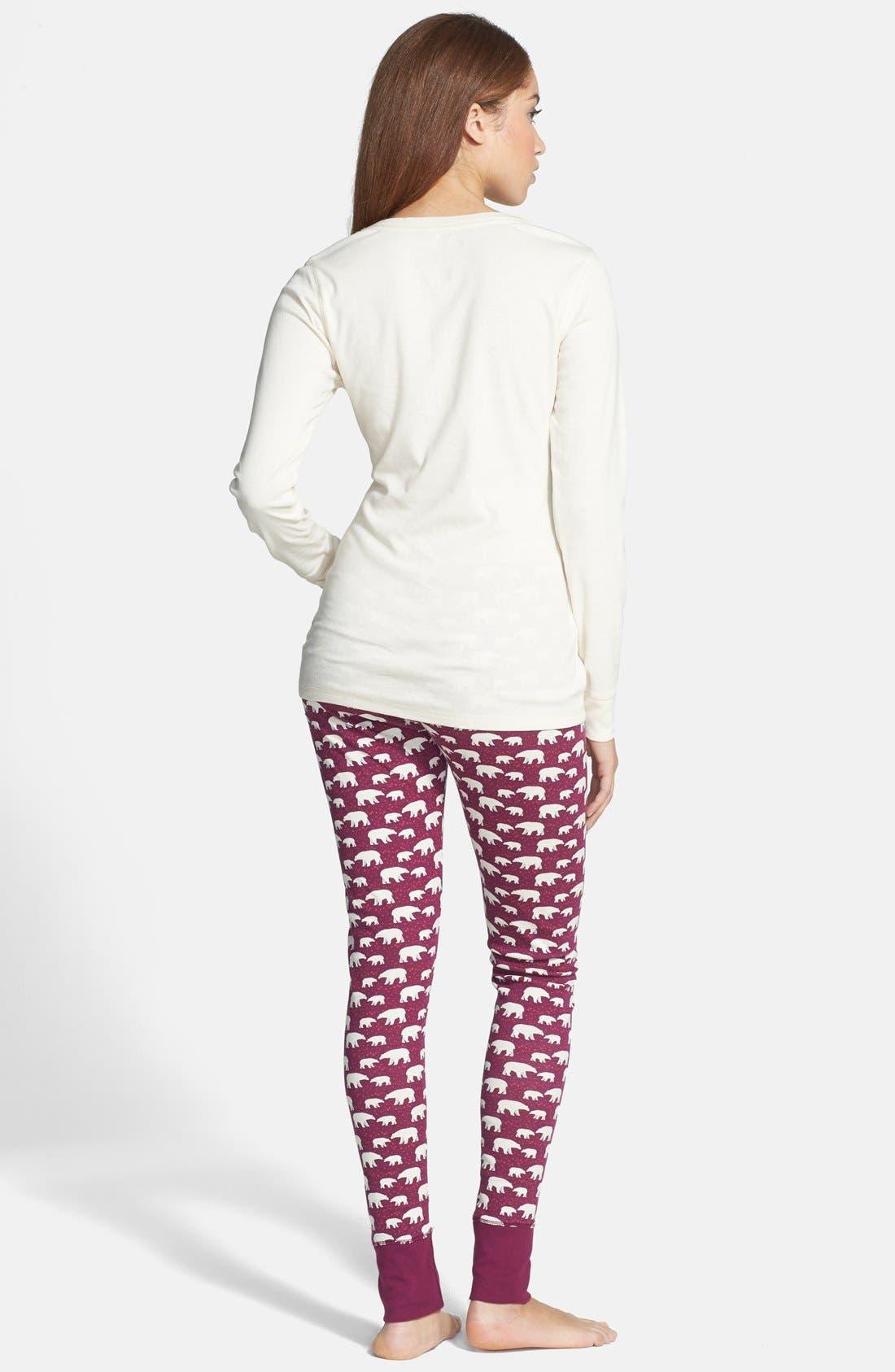 Alternate Image 2  - Jane & Bleecker New York Print Legging Pajamas