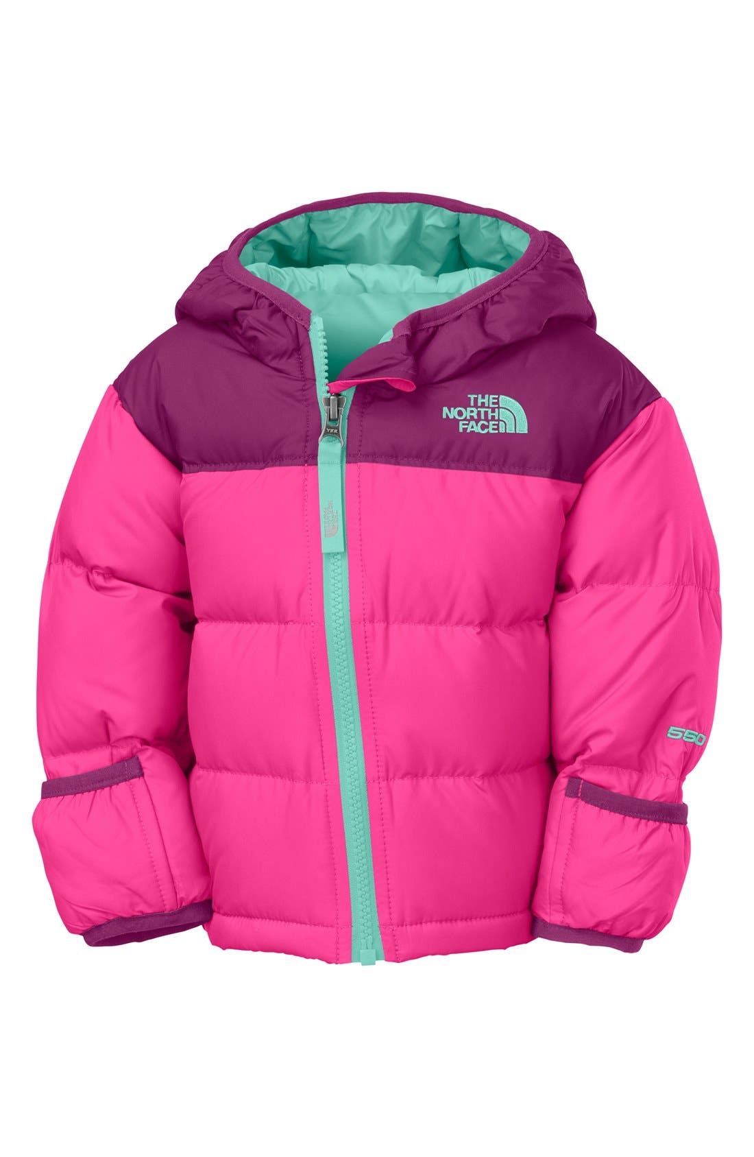 Main Image - The North Face 'Nuptse' Hooded Down Jacket (Baby Girls)
