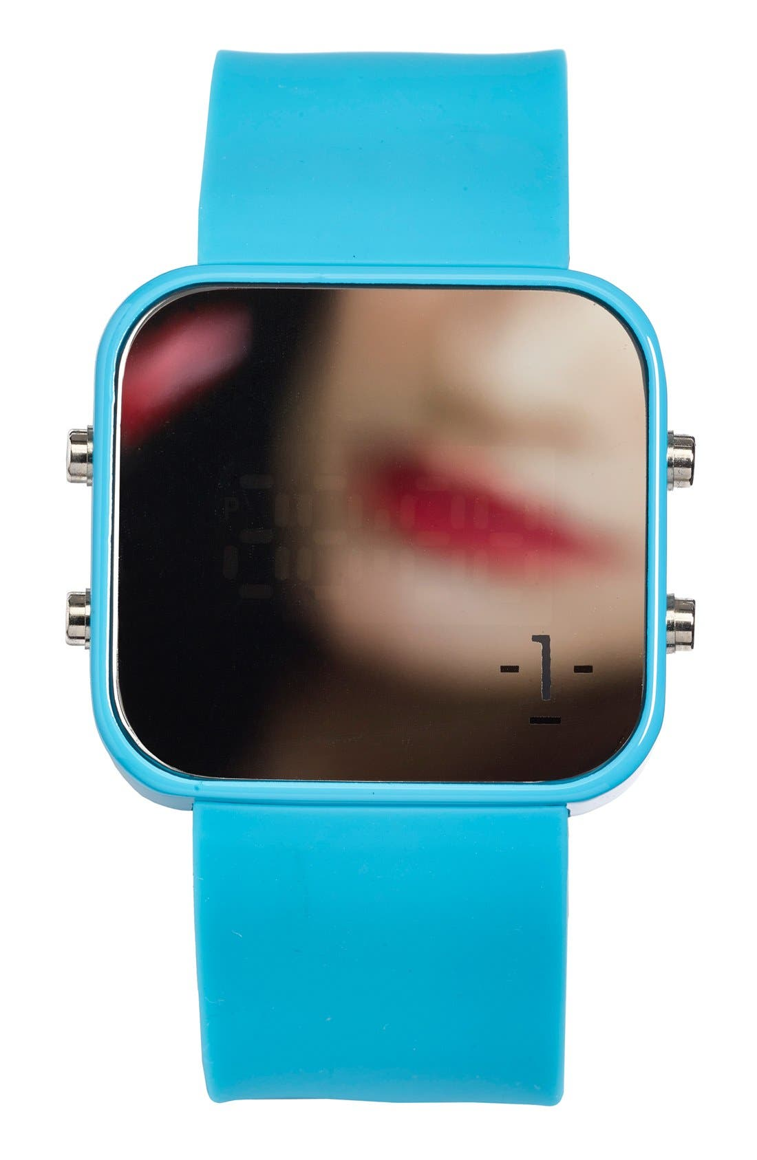 Alternate Image 3  - 1:Face 'Environment' Square Digital Silicone Strap Watch, 38mm