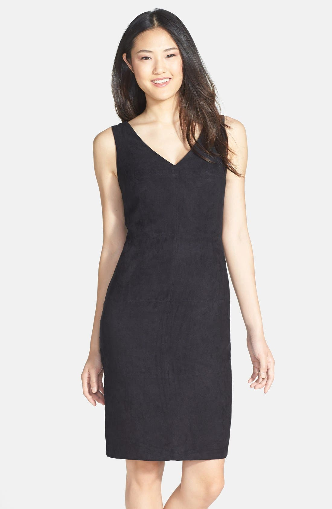 Alternate Image 1 Selected - Vince Camuto Faux Suede Front Sheath Dress (Regular & Petite)