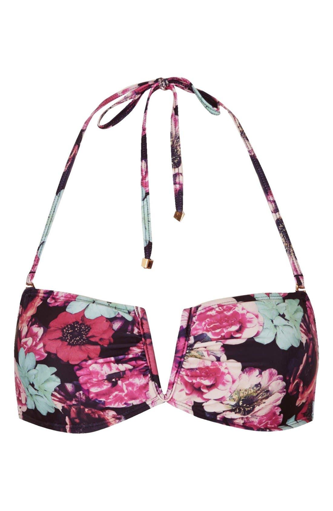 Alternate Image 1 Selected - Topshop 'Mixed Bloom' Floral Print Bandeau Bikini Top