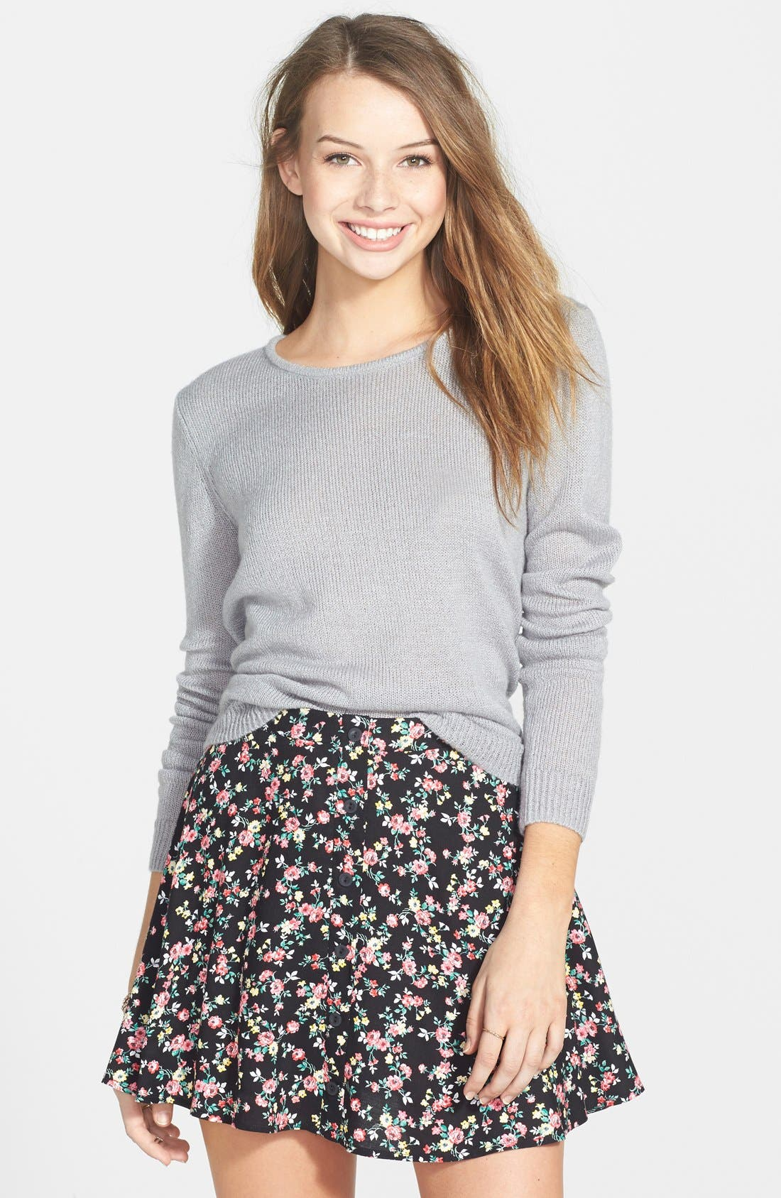 Main Image - Lush Button Front Skater Skirt