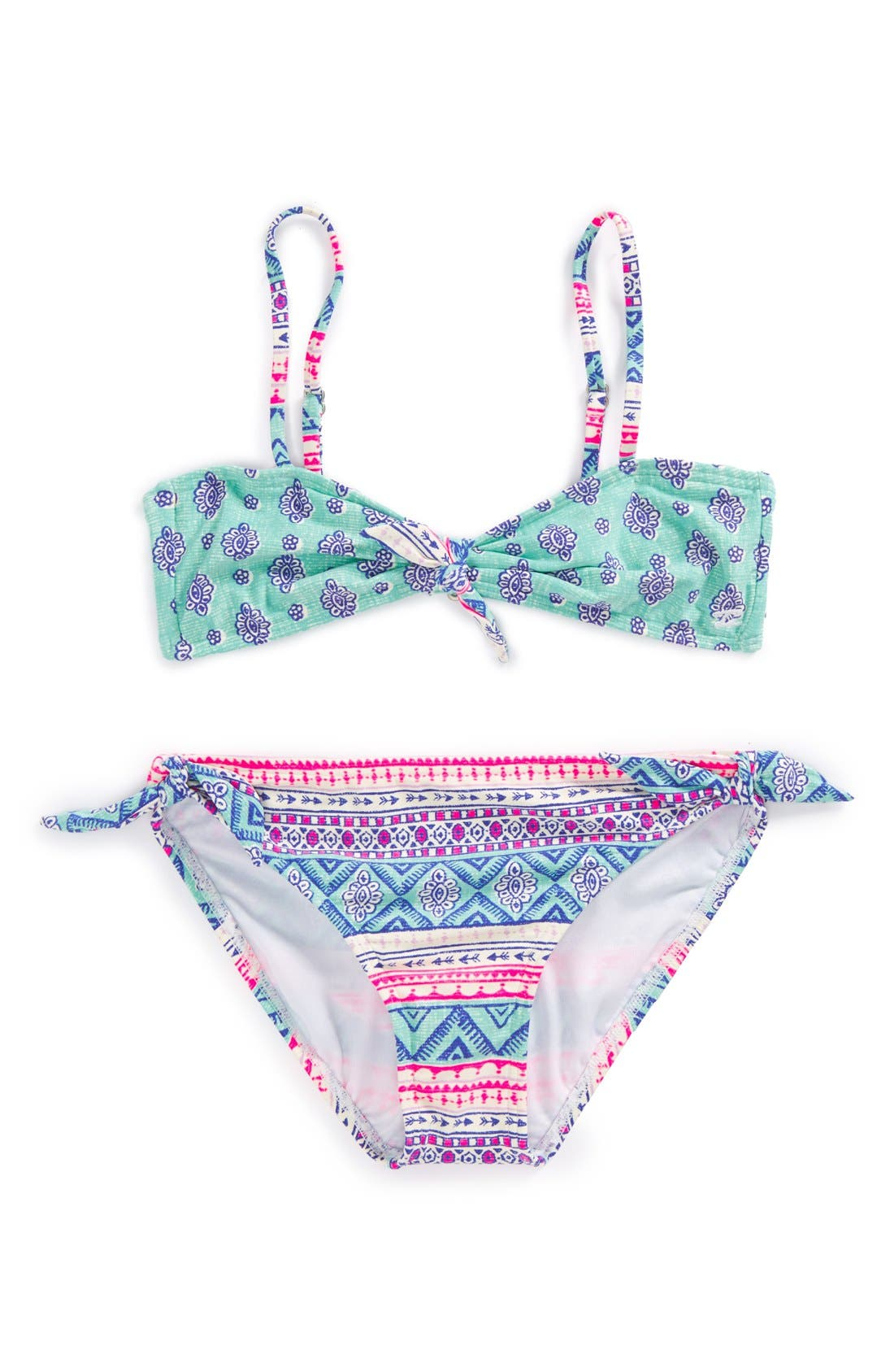 Alternate Image 1 Selected - Billabong 'Hippie Chic' Two-Piece Bandeau Swimsuit (Big Girls)