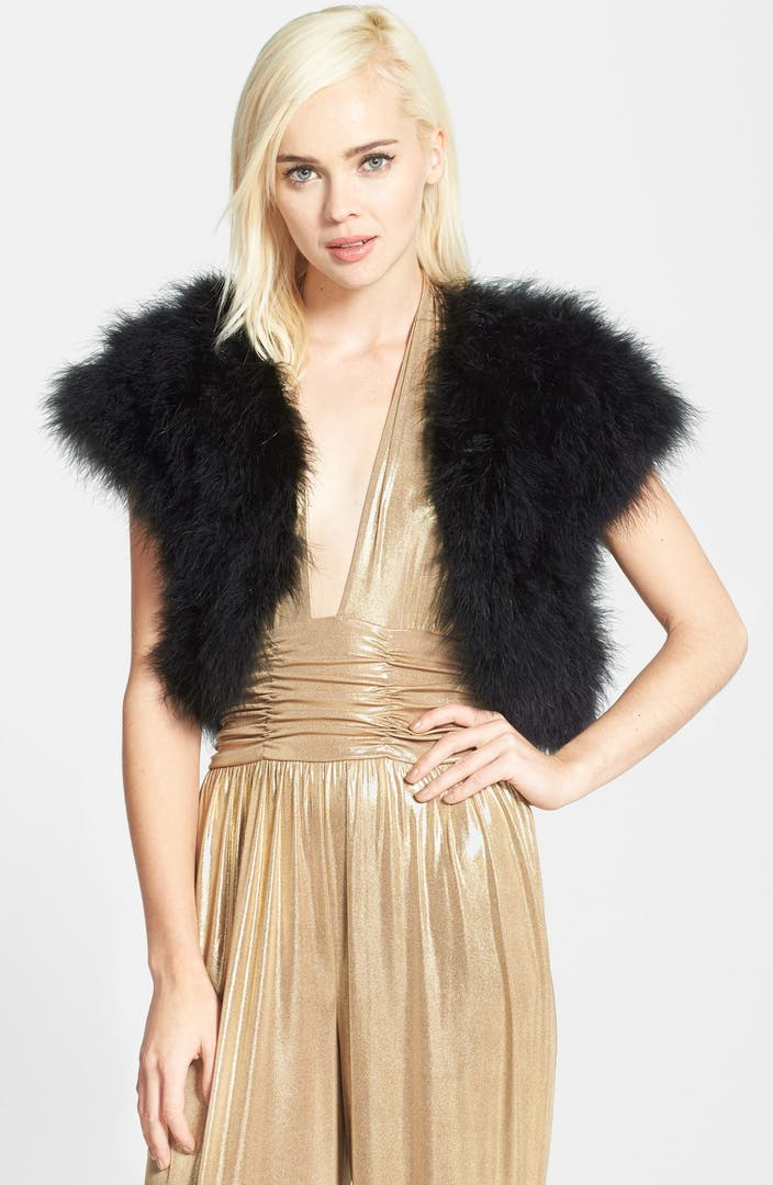 Betsey Johnson Genuine Marabou Vest Nordstrom