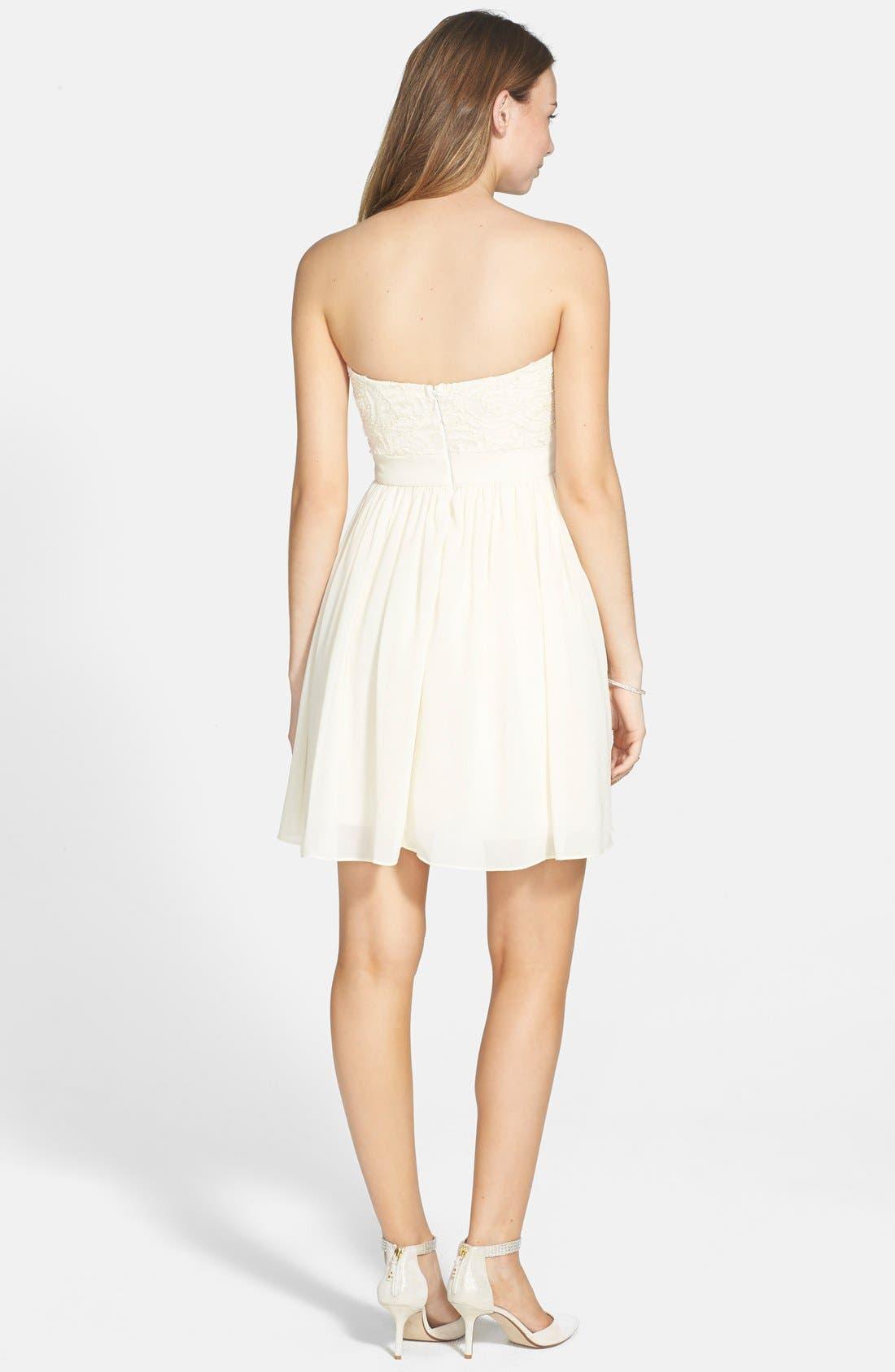 Alternate Image 2  - a. drea Embellished Bodice Strapless Skater Dress (Juniors)