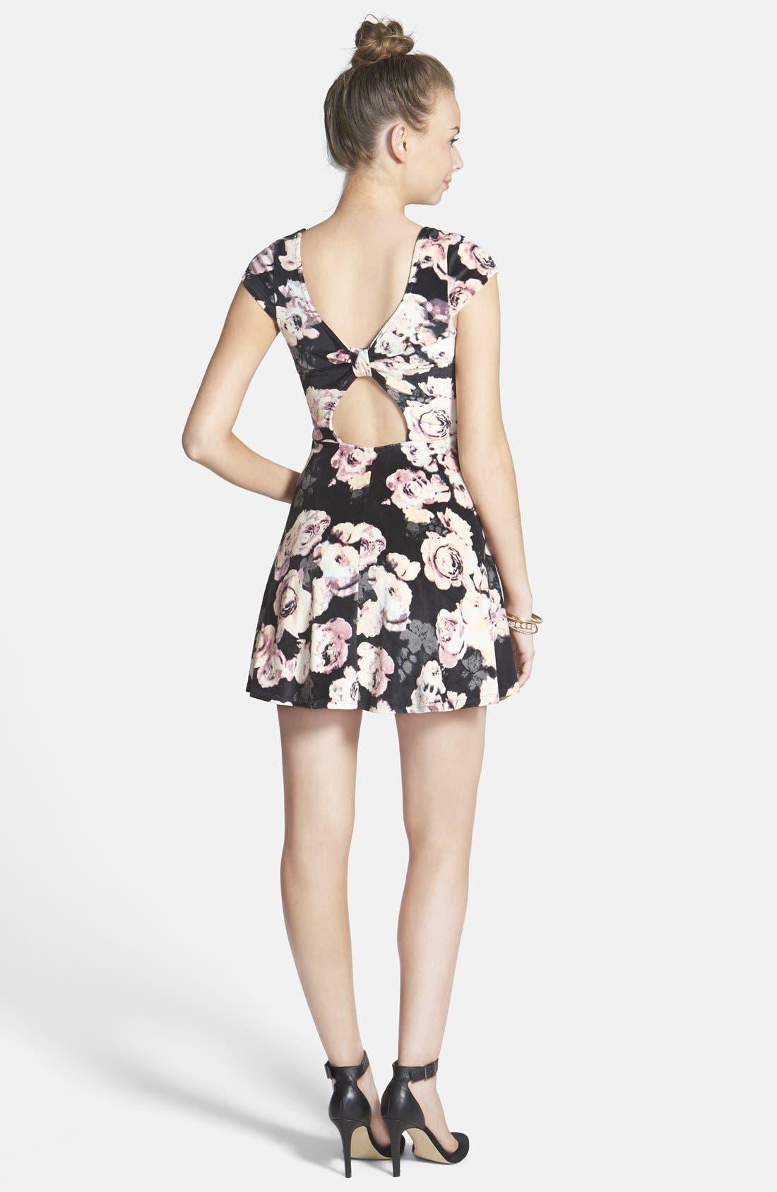 Alternate Image 2  - Fire Floral Print Bow Back Velvet Skater Dress (Juniors)