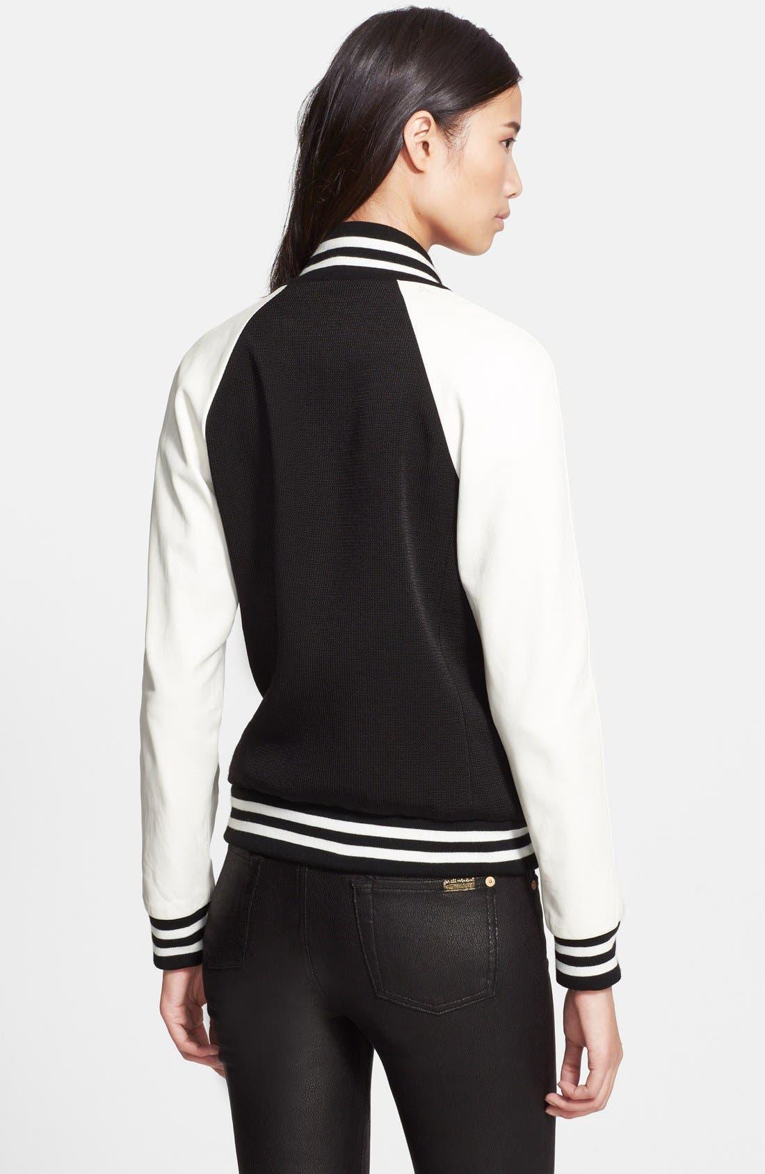Alternate Image 2  - Veronica Beard Leather Sleeve Varsity Jacket