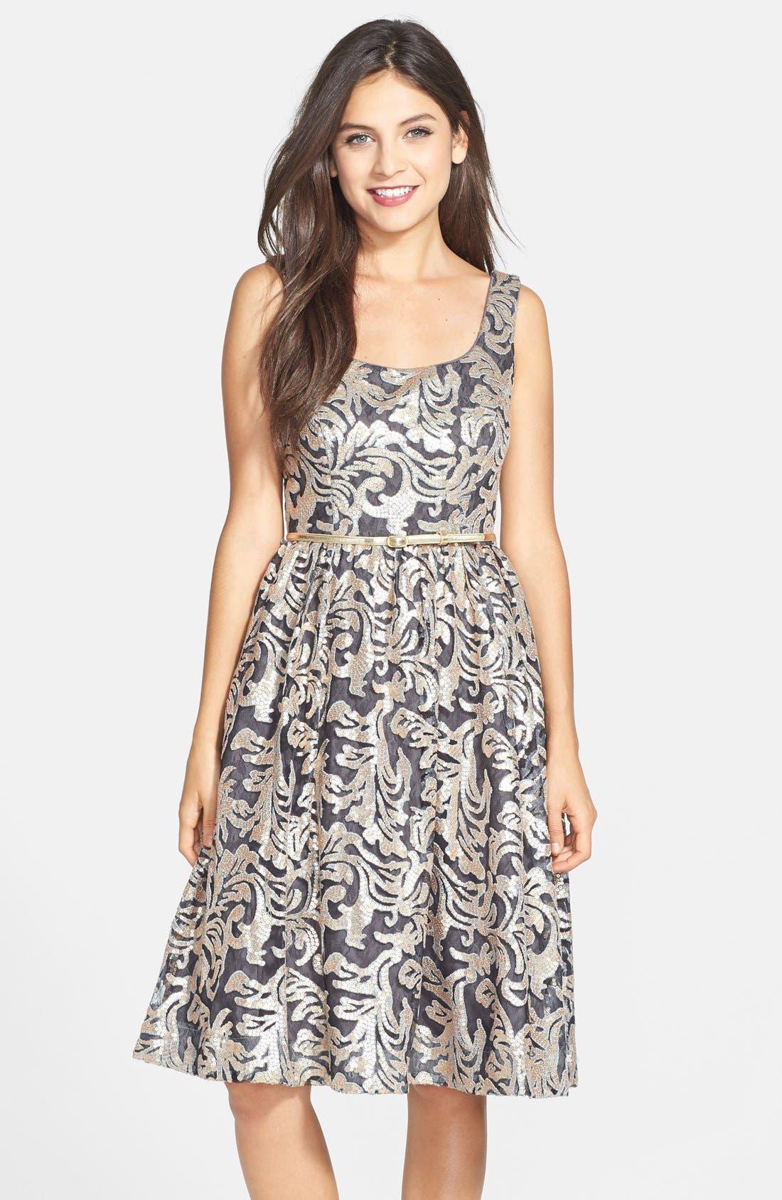 Alternate Image 1 Selected - Donna Morgan Sequin Fit & Flare Midi Dress