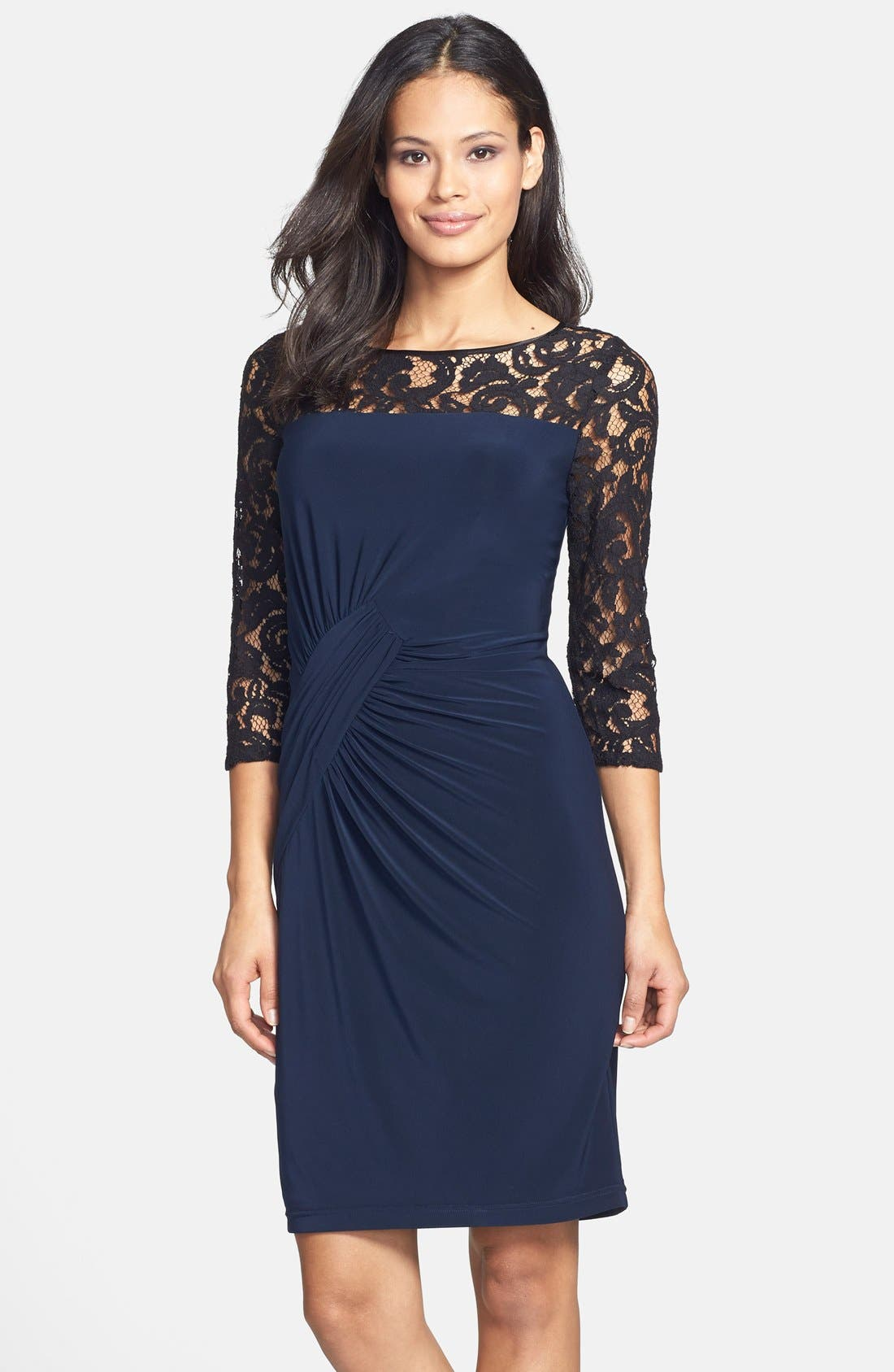 Alternate Image 1 Selected - Adrianna Papell Lace & Jersey Shirred Sheath Dress