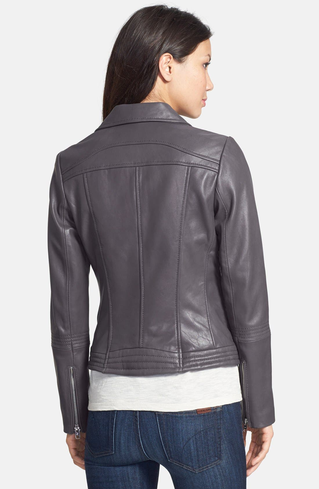 Alternate Image 2  - MICHAEL Michael Kors Leather Moto Jacket (Online Only)