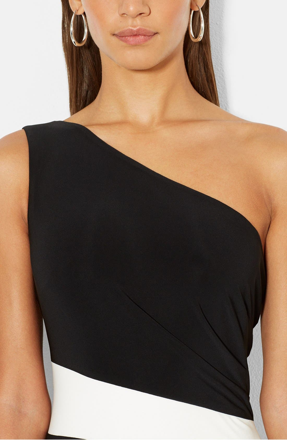 Alternate Image 3  - Lauren Ralph Lauren One-Shoulder Two-Tone Jersey Gown