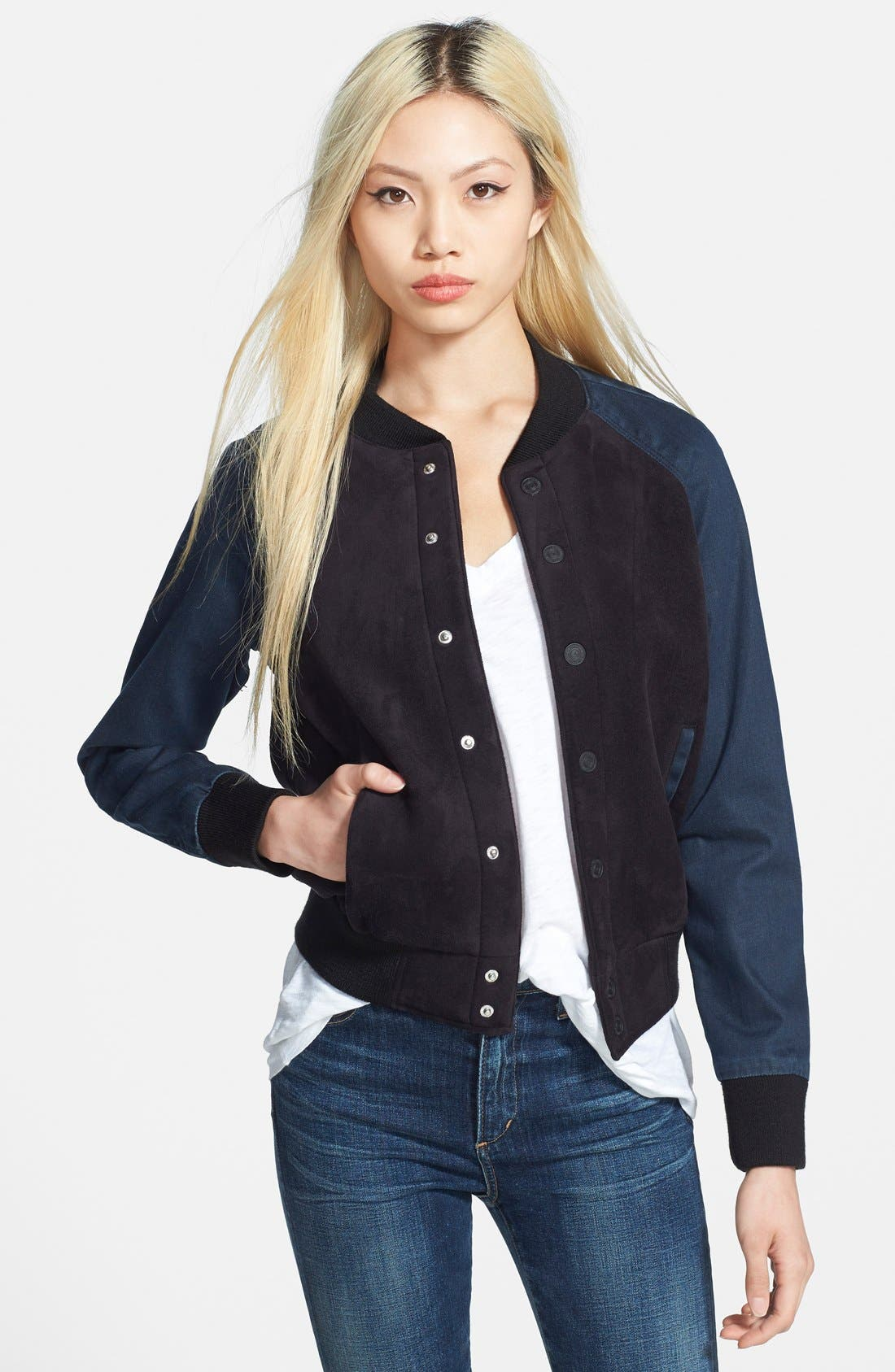 Alternate Image 1 Selected - MOTHER Snap Front Bomber Jacket