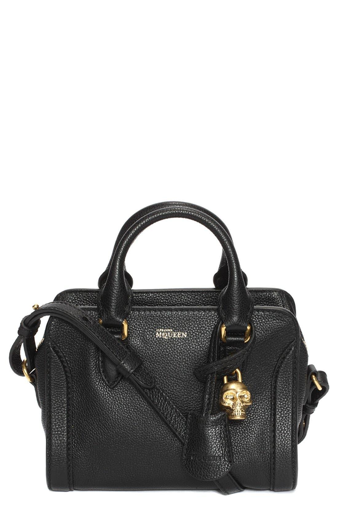 Main Image - Alexander McQueen 'Mini Padlock' Calfskin Leather Duffel Bag