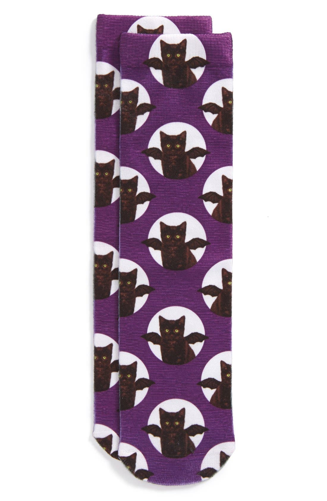 Main Image - Topshop Digital Bat Kitten Pattern Ankle Socks