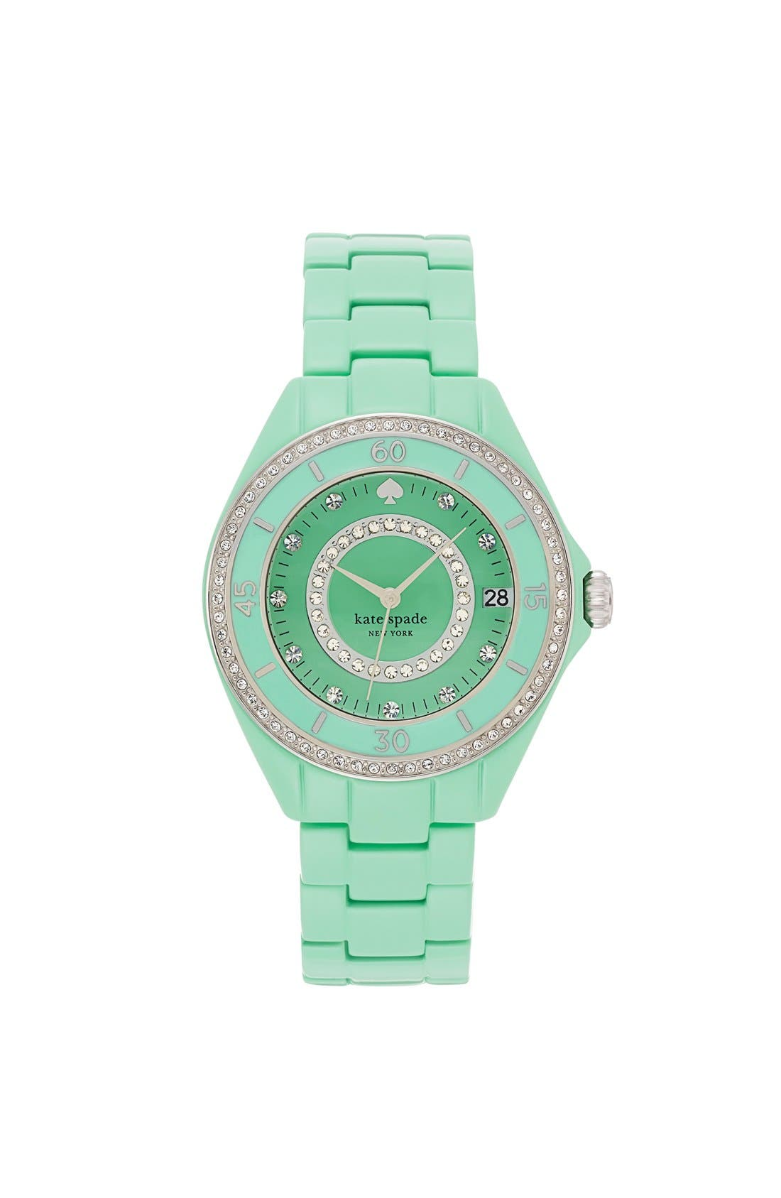 Main Image - kate spade new york 'seaport grand' crystal enamel bracelet watch, 38mm
