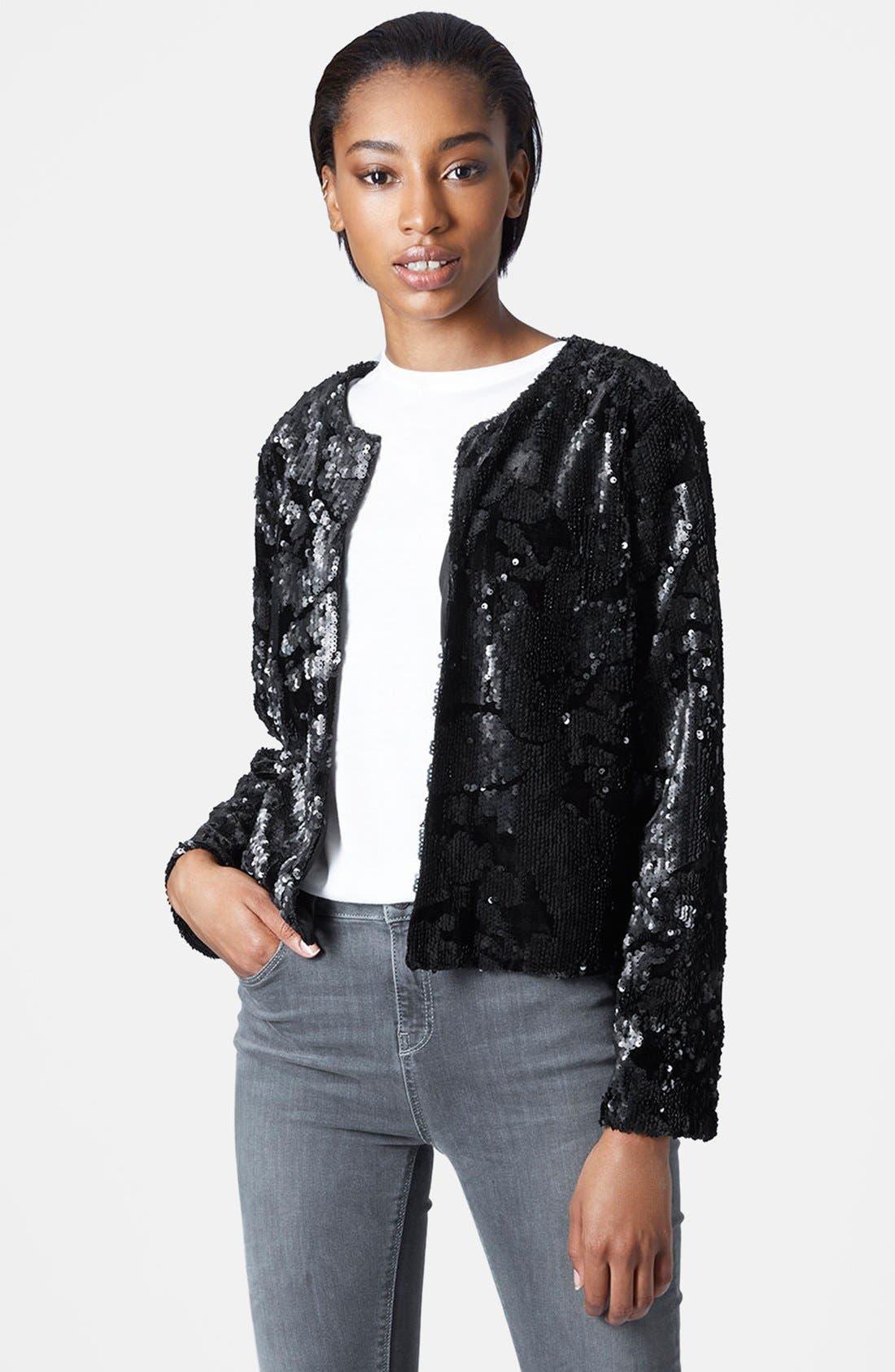 Alternate Image 1 Selected - Topshop Velvet Sequin Jacket