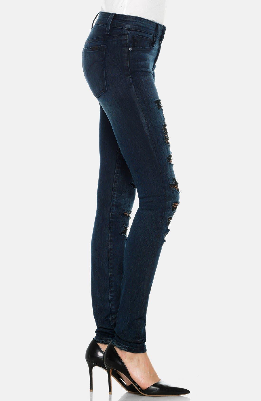 Alternate Image 3  - Joe's Destructed Mid Rise Skinny Jeans (Ellery)