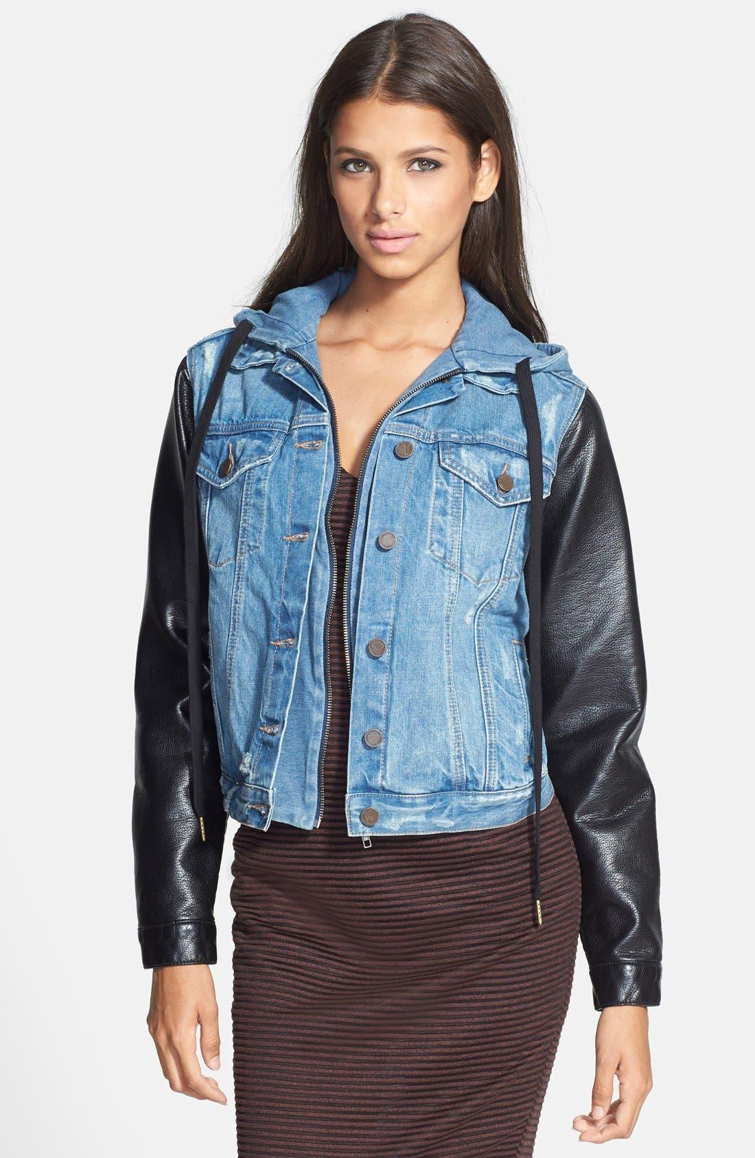 Main Image - BLANKNYC Mixed Media Denim Jacket