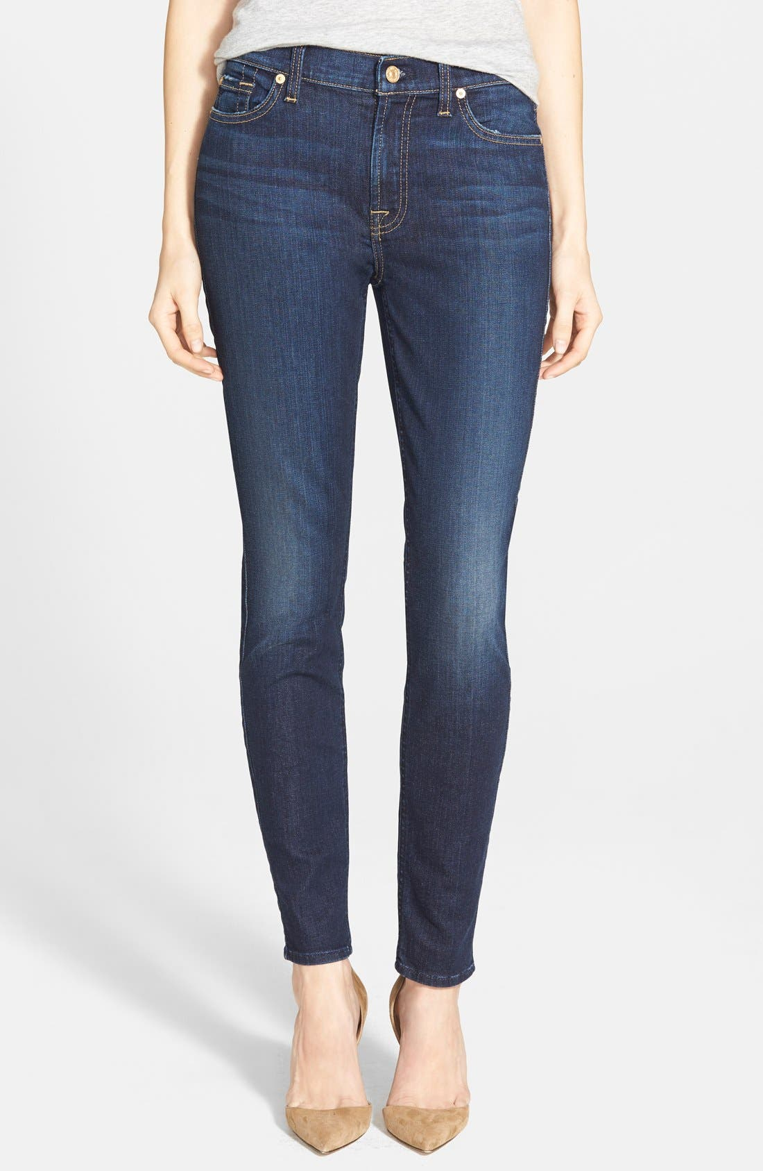 Main Image - 7 for All Mankind® Mid Rise Ankle Skinny Jeans (Dark Royal Rinse)