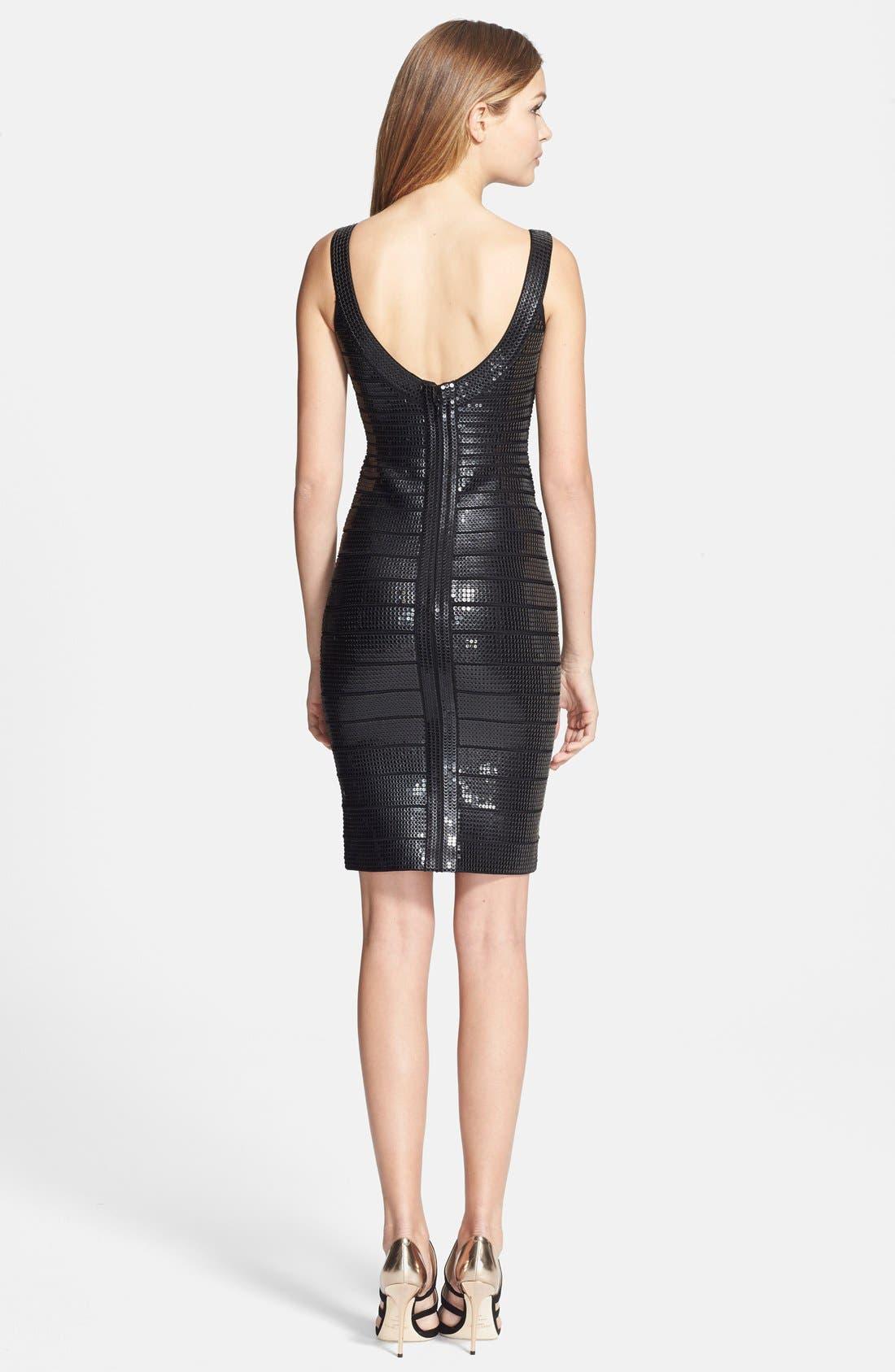 Alternate Image 2  - Herve Leger Sequin Bandage Pencil Dress