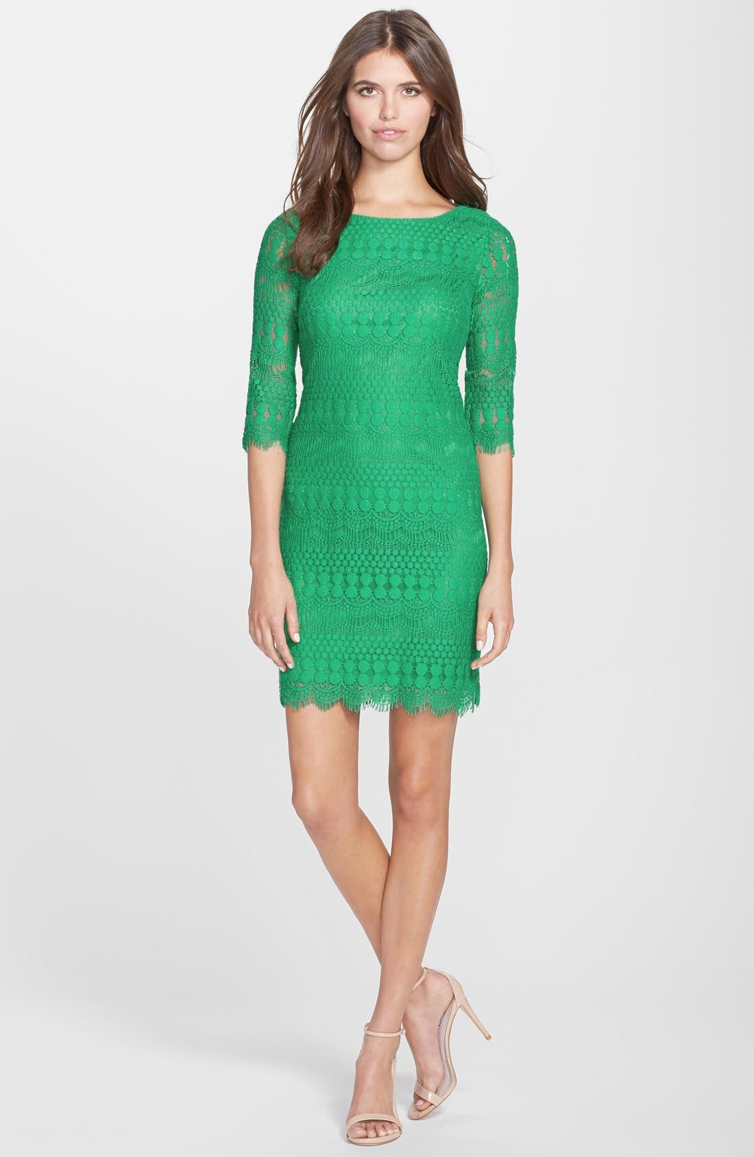 Alternate Image 3  - Eliza J Scalloped Lace Shift Dress (Petite)
