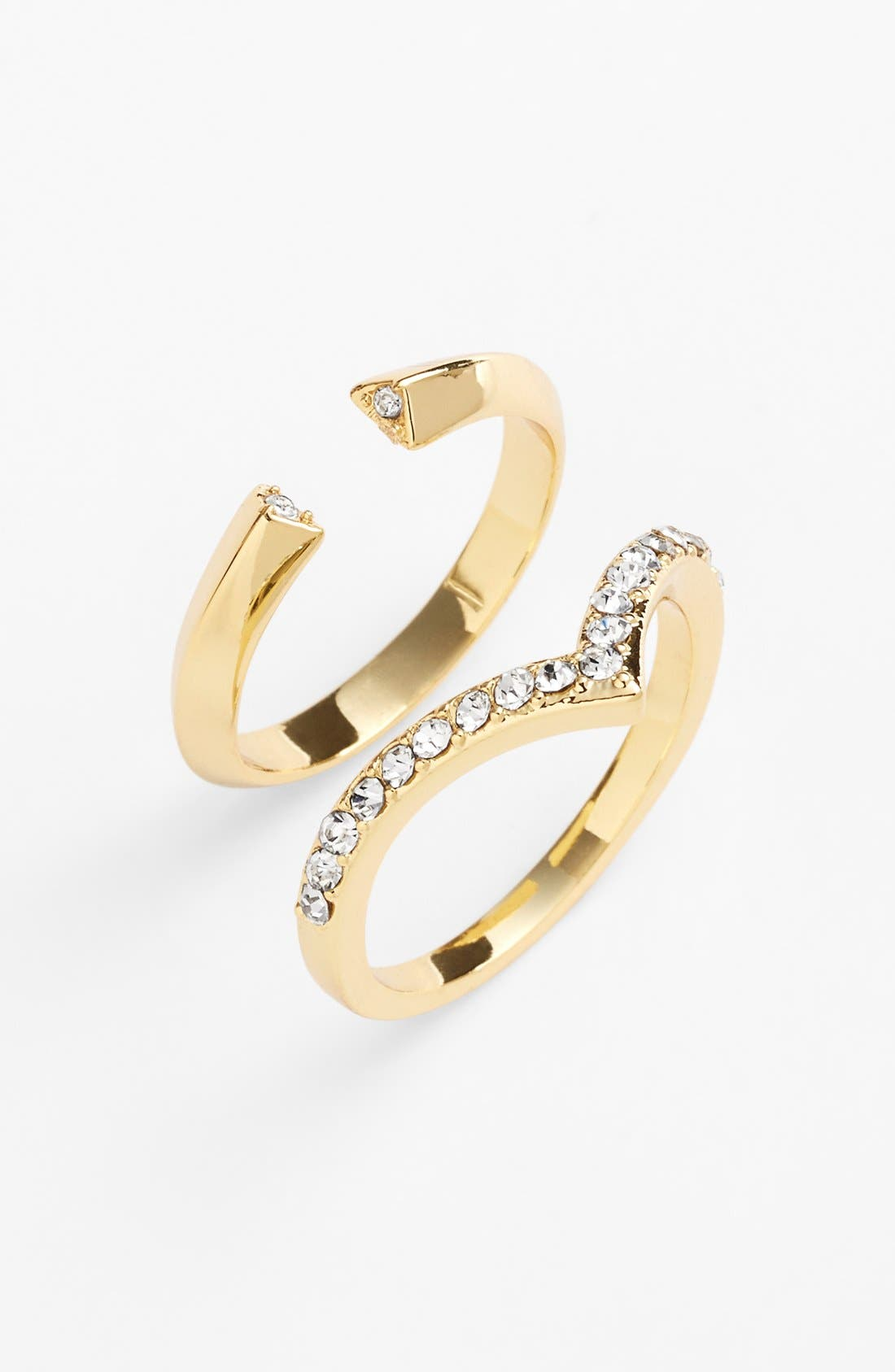 Main Image - Ariella Collection Chevron & Open Rings (Set of 2)