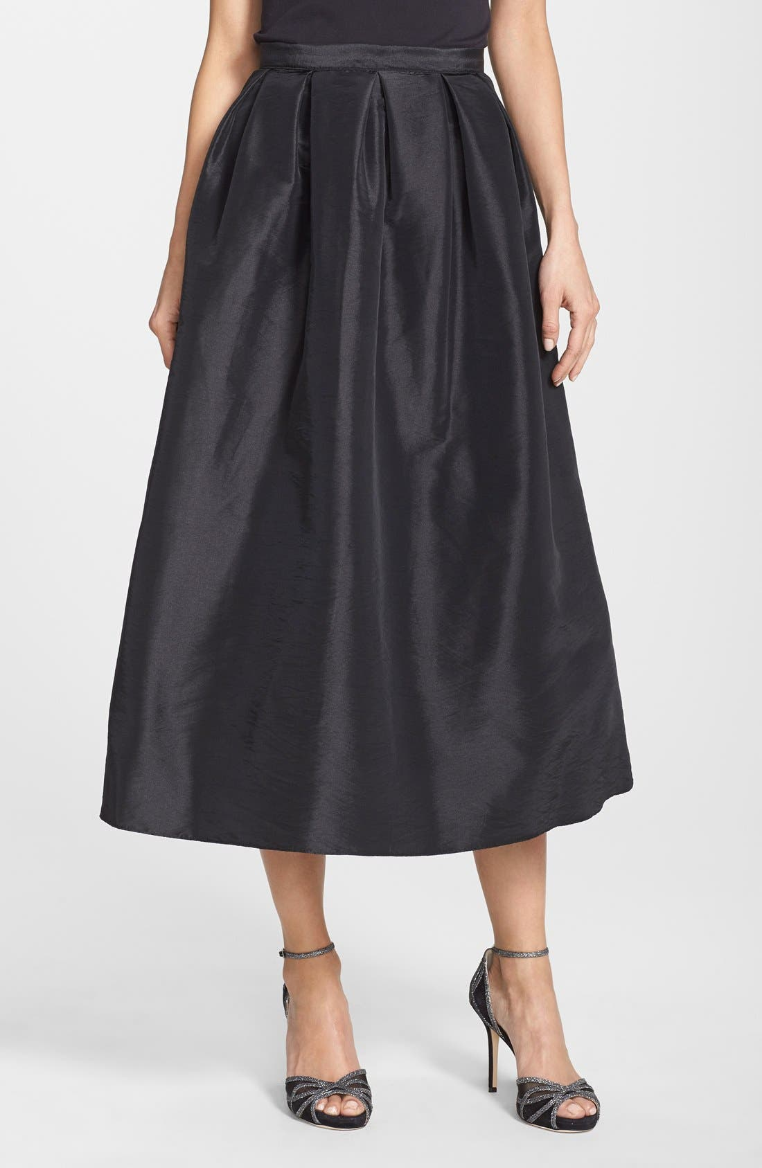 Alternate Image 1 Selected - Marina Pleated Taffeta Midi Skirt