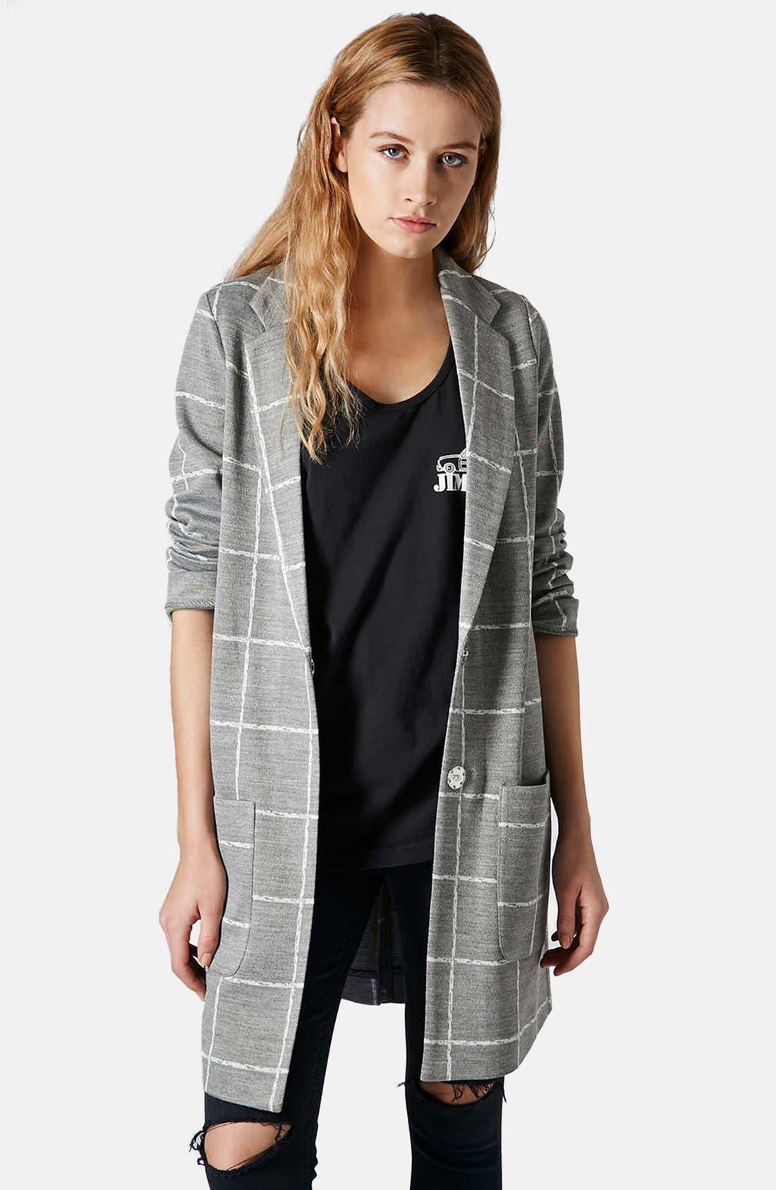 Main Image - Topshop Grid Check Slim Coat