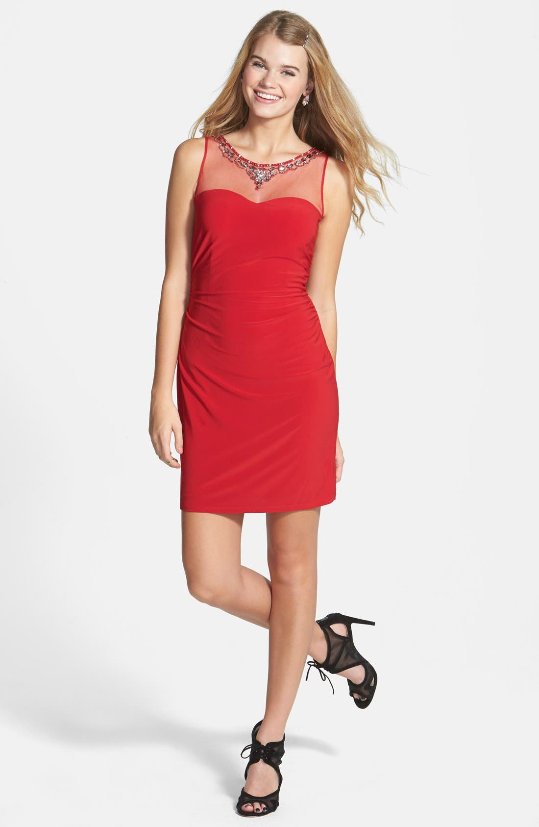 Alternate Image 1 Selected - Hailey Logan Jeweled Illusion Yoke Body-Con Dress (Online Only)