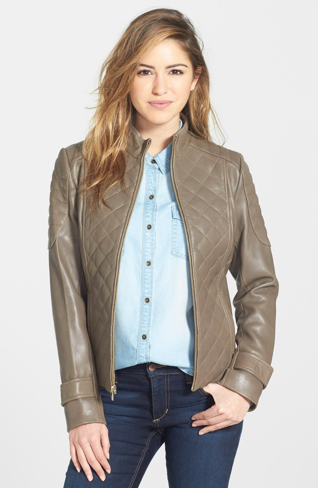 Main Image - Via Spiga Quilted Lambskin Leather Jacket