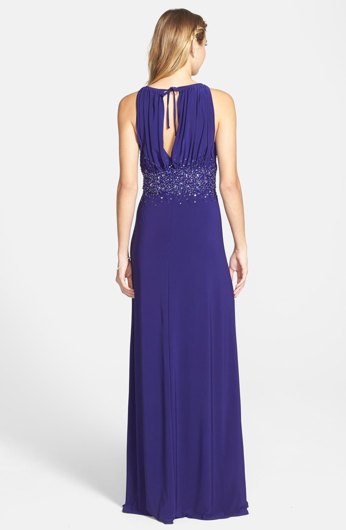 Alternate Image 2  - JS Boutique Embellished Cutaway Jersey Gown