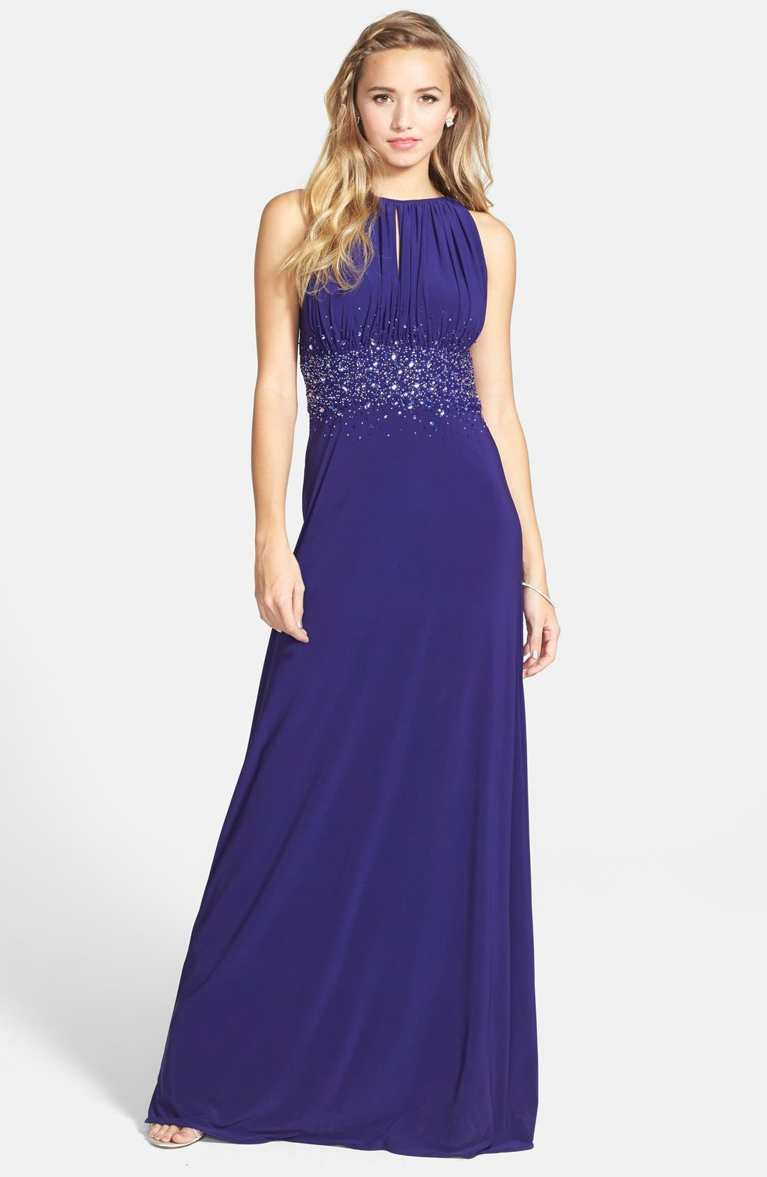 Alternate Image 1 Selected - JS Boutique Embellished Cutaway Jersey Gown
