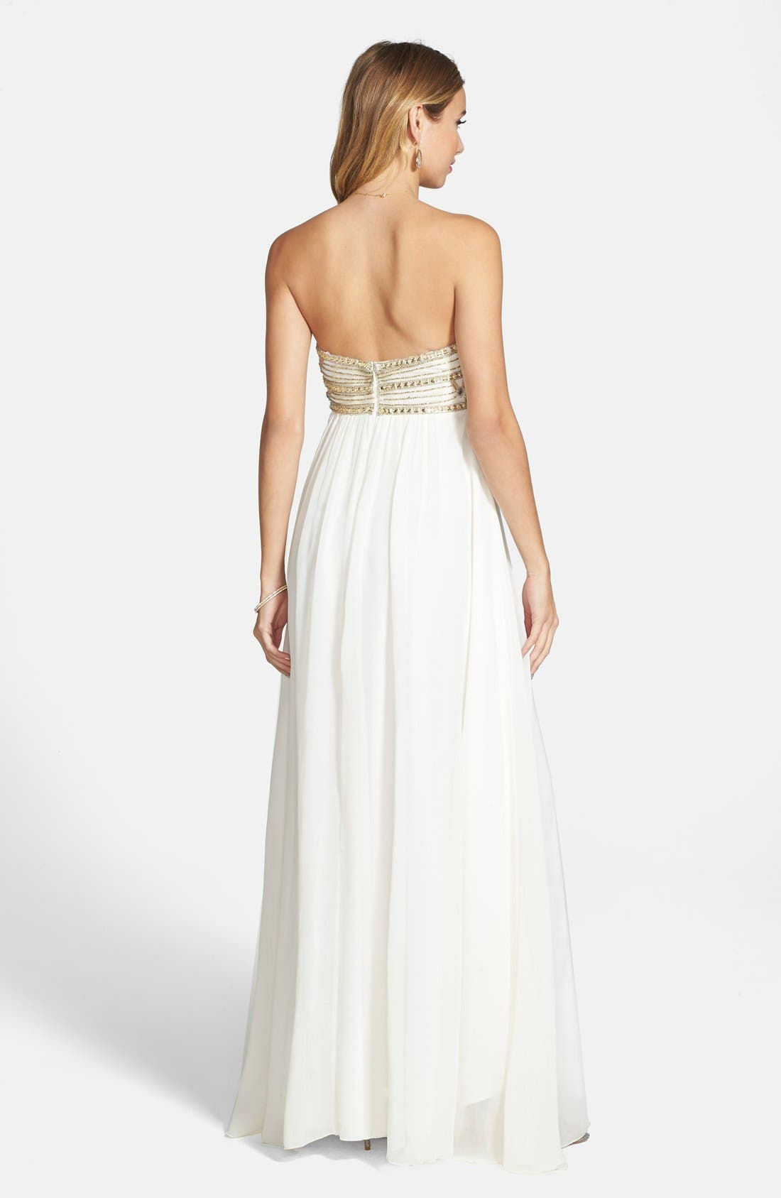 Alternate Image 2  - JS Collections Beaded Empire Waist Chiffon Gown