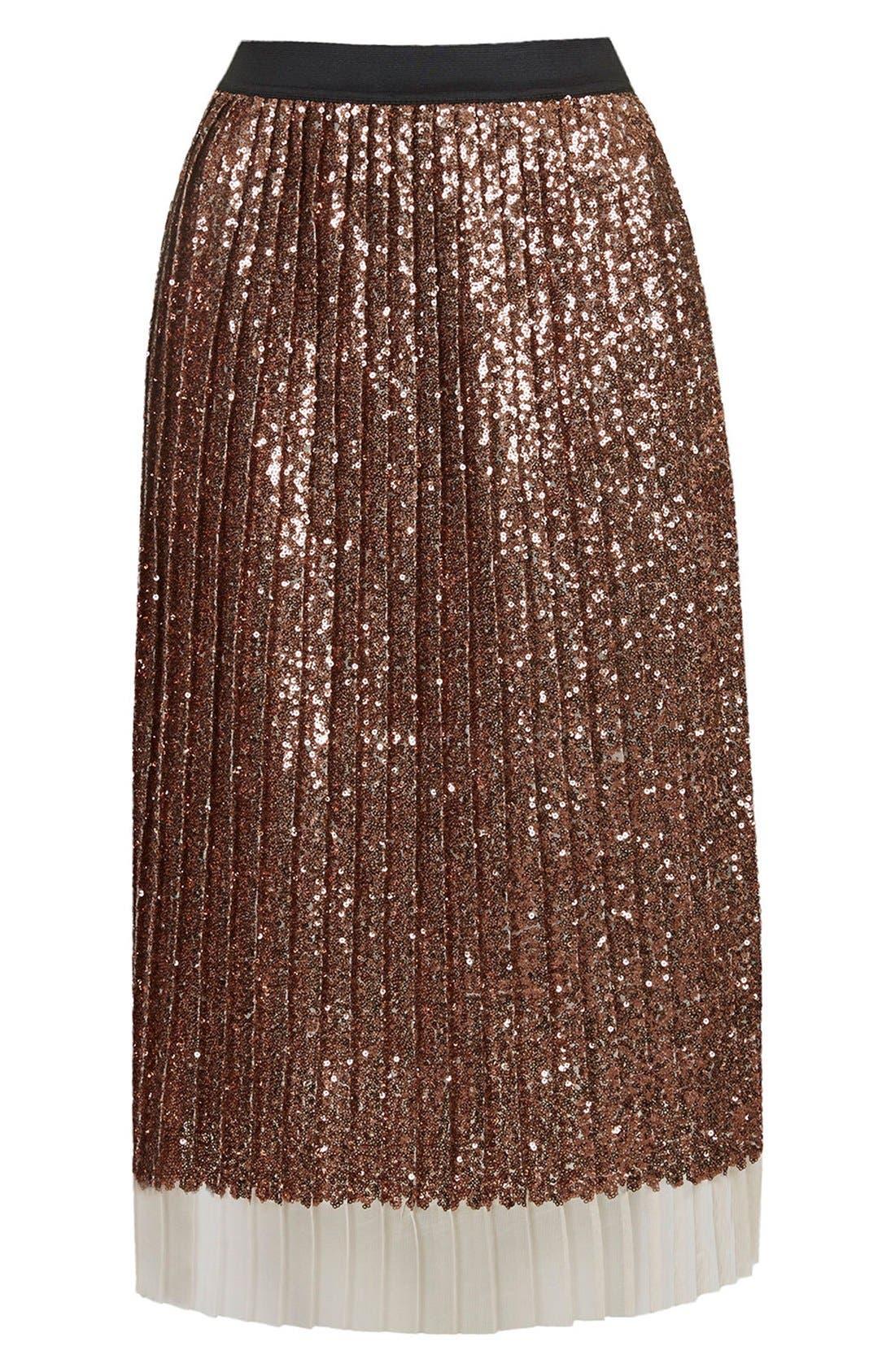Alternate Image 3  - Topshop Sequin Pleated Midi Skirt