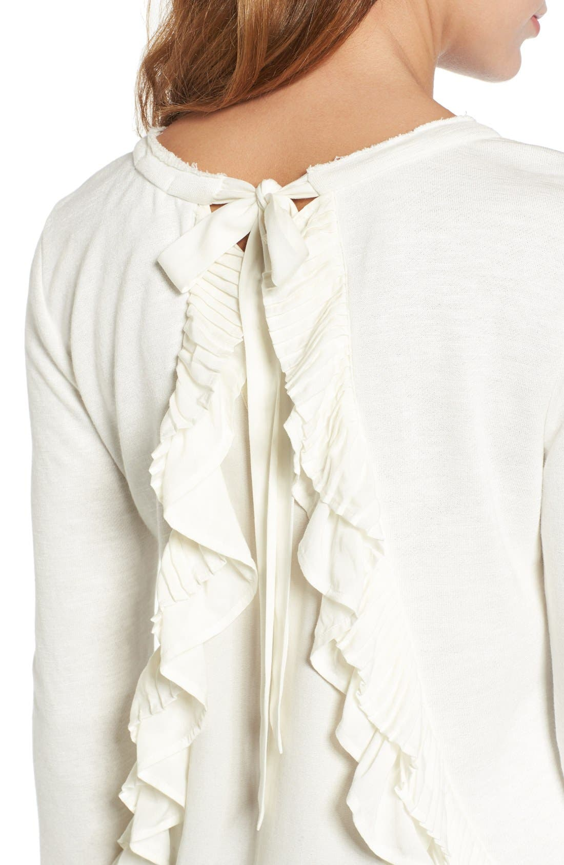 Alternate Image 4  - Chelsea28 Ruffle Back Sweatshirt