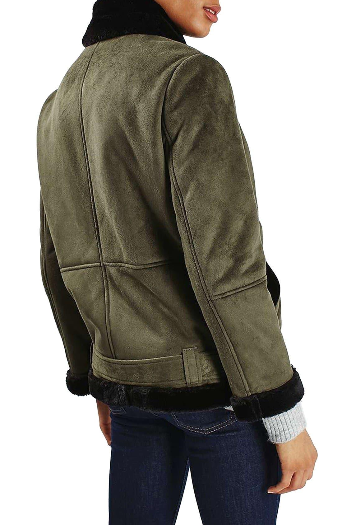 Alternate Image 3  - Topshop April Faux Shearling Biker Jacket
