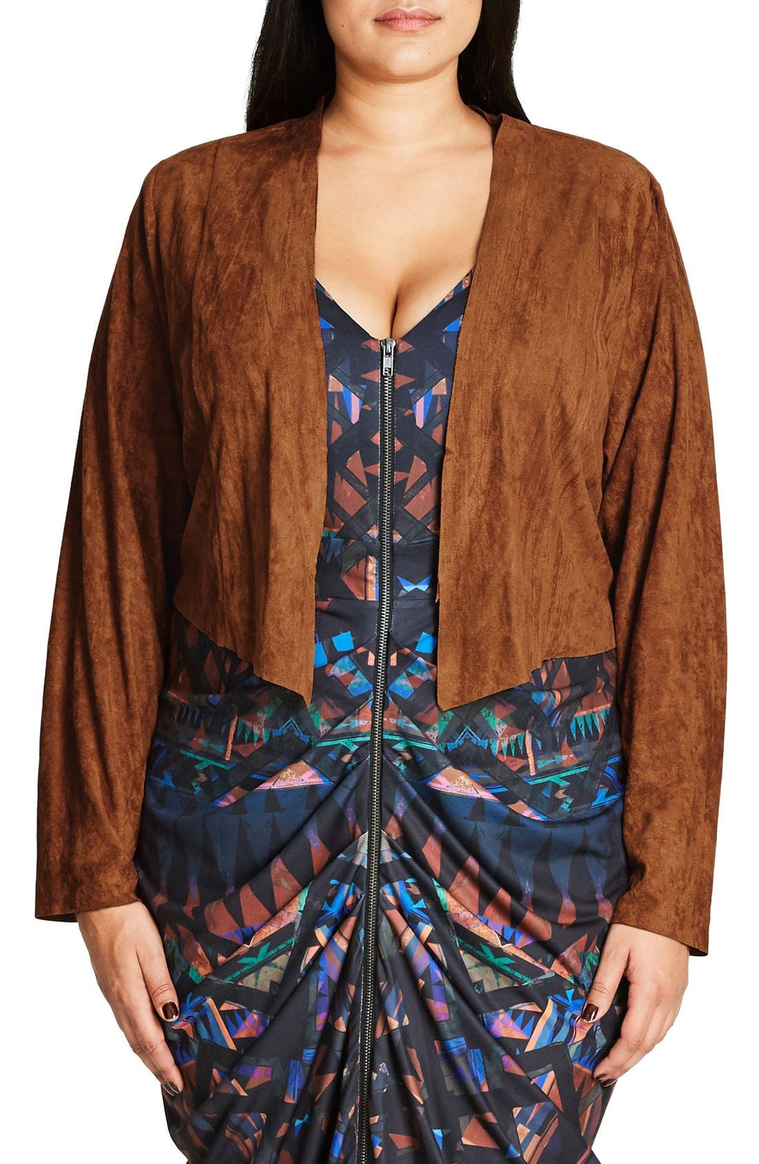 City Chic So Dusty Faux Suede Jacket (Plus Size)