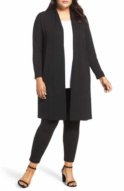 Vince Camuto Open Front Maxi Cardigan (Plus Size)