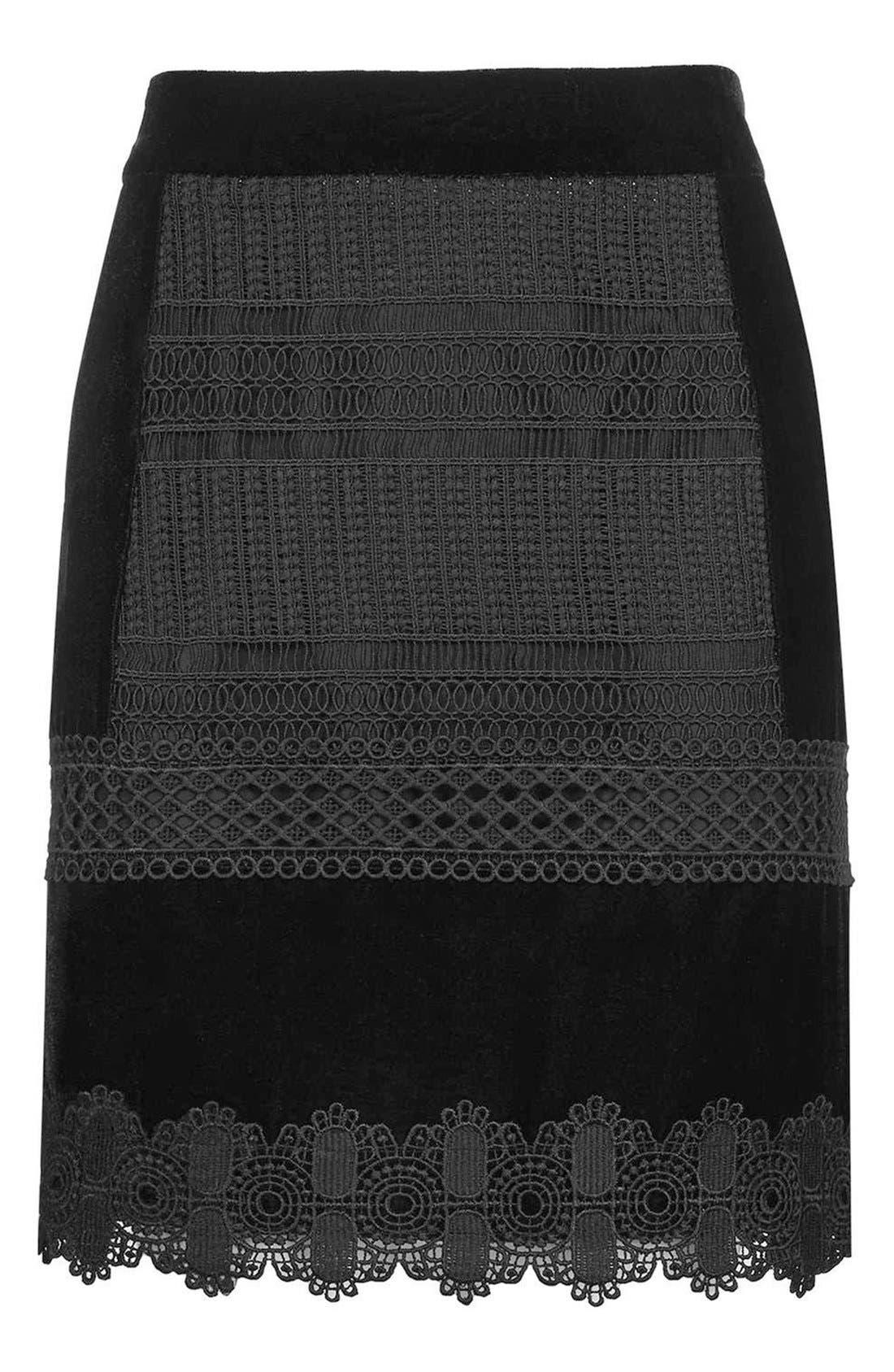 Alternate Image 4  - Topshop Velvet & Lace Miniskirt