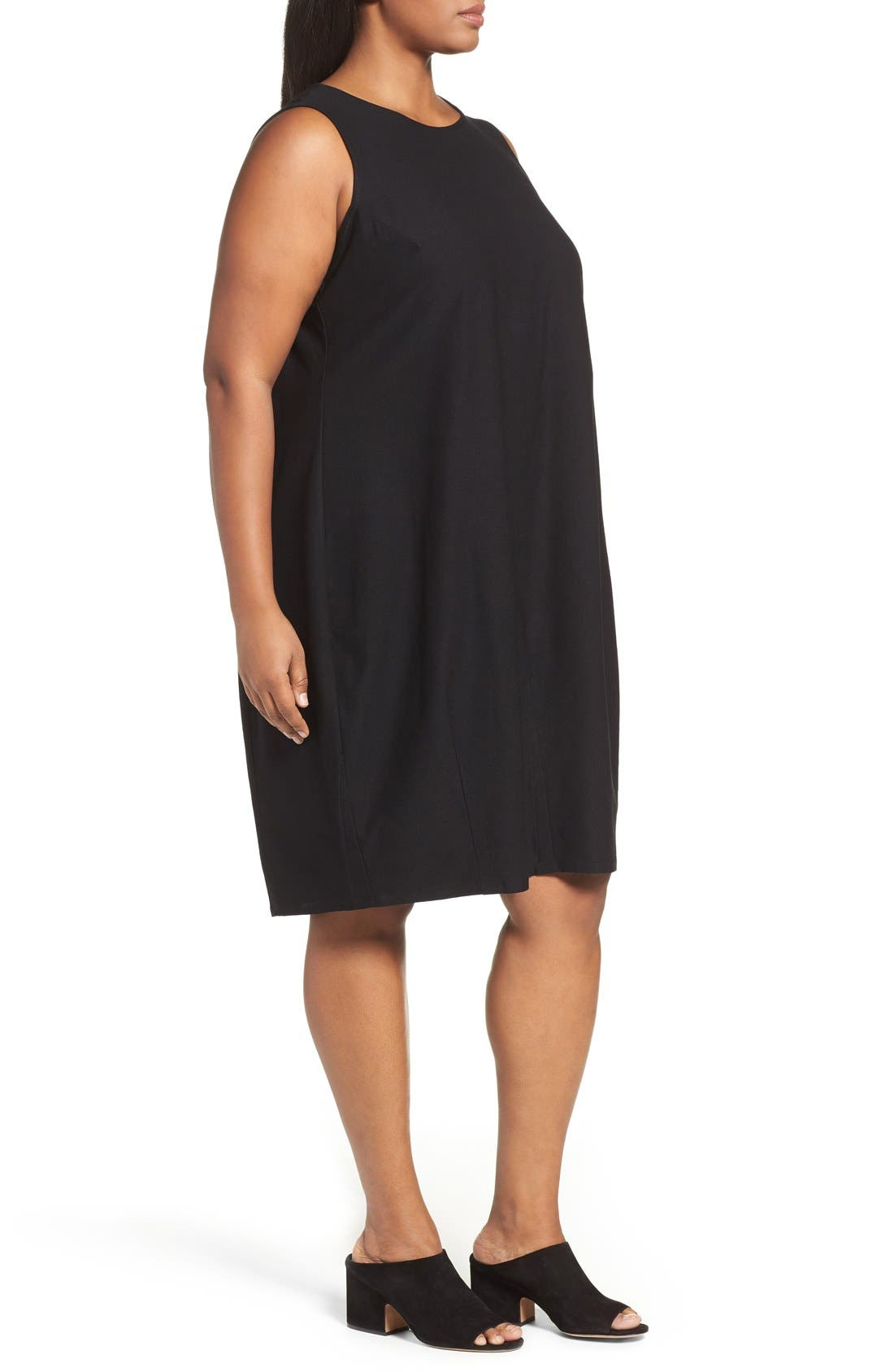 Alternate Image 3  - Eileen Fisher Washable Stretch Crepe Shift Dress (Plus Size)