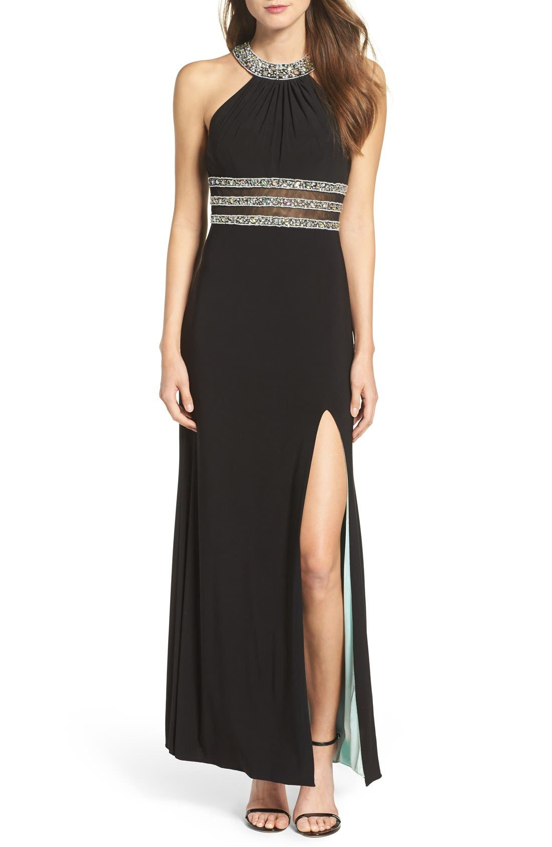 BLONDIE NITES Beaded Halter Dress