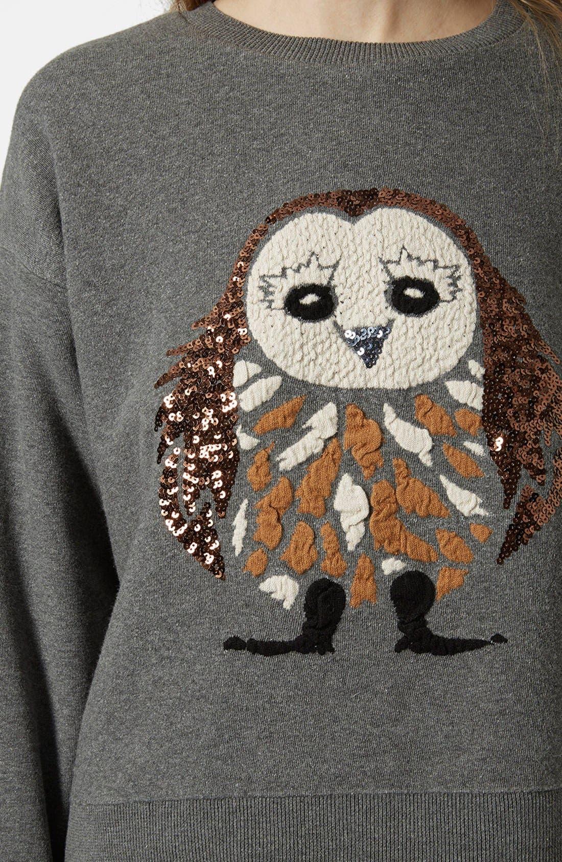 Alternate Image 3  - Topshop Sequin Owl Sweater