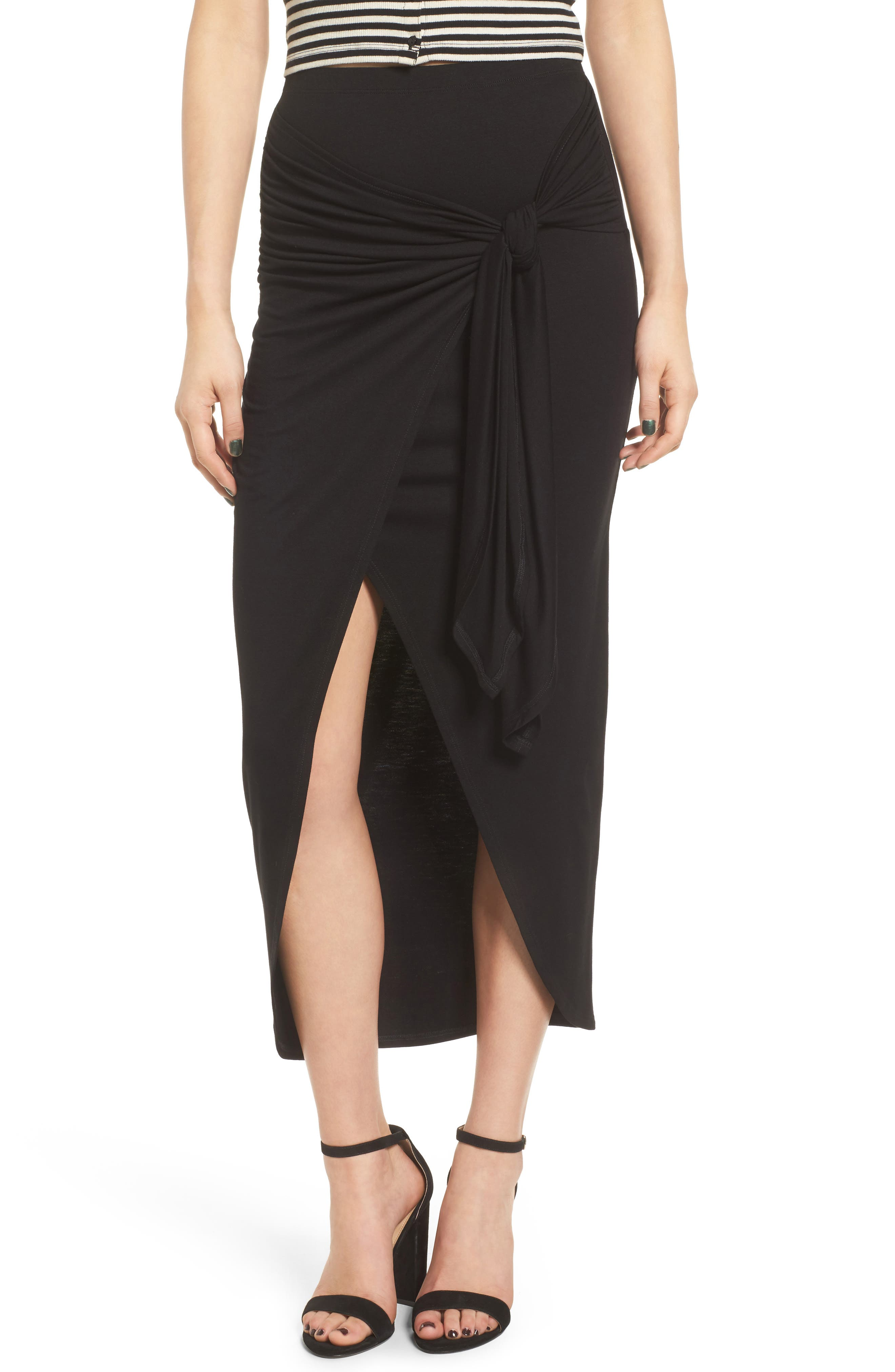 Alternate Image 1 Selected - Soprano Knotted Surplice Midi Skirt