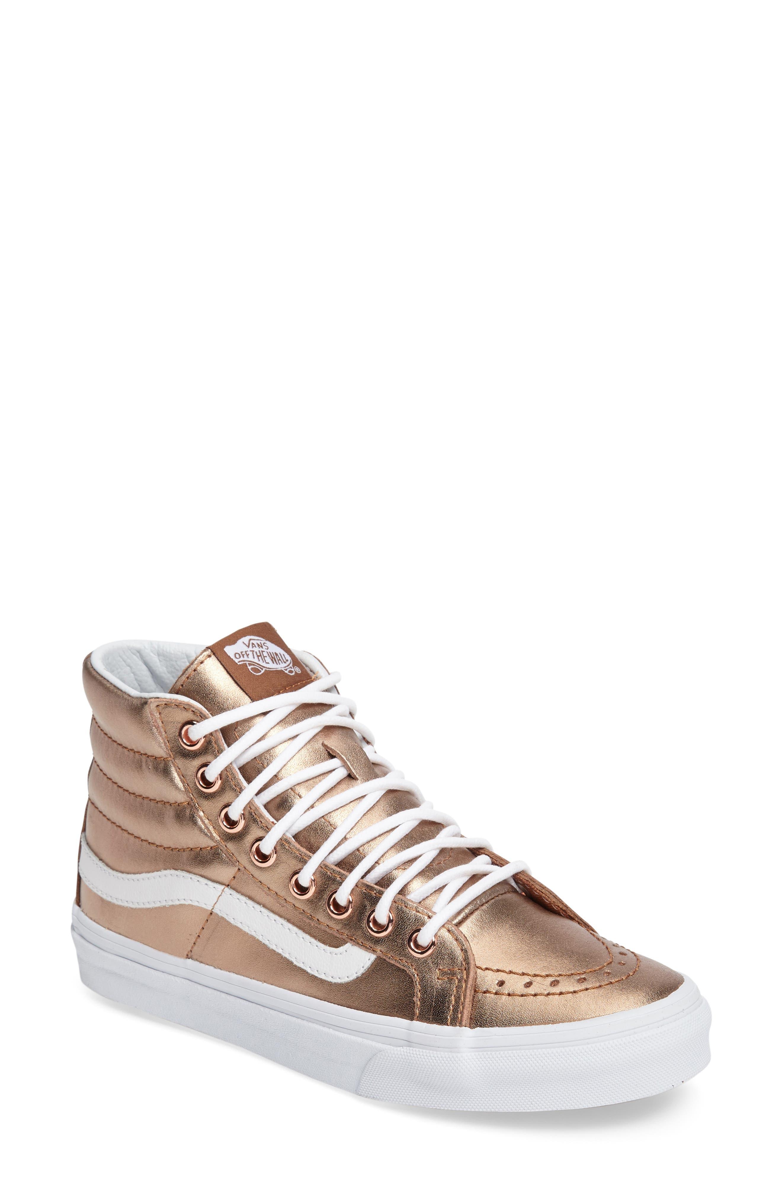 Alternate Image 1 Selected - Vans 'Sk8-Hi Slim' Metallic Leather Sneaker (Women)