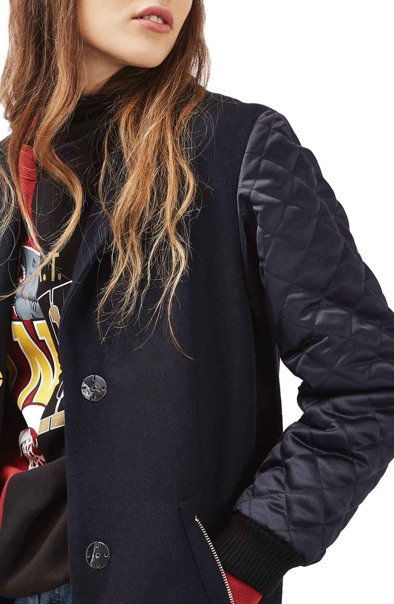 Alternate Image 4  - Topshop Quilted Sleeve Wool Blend Coat
